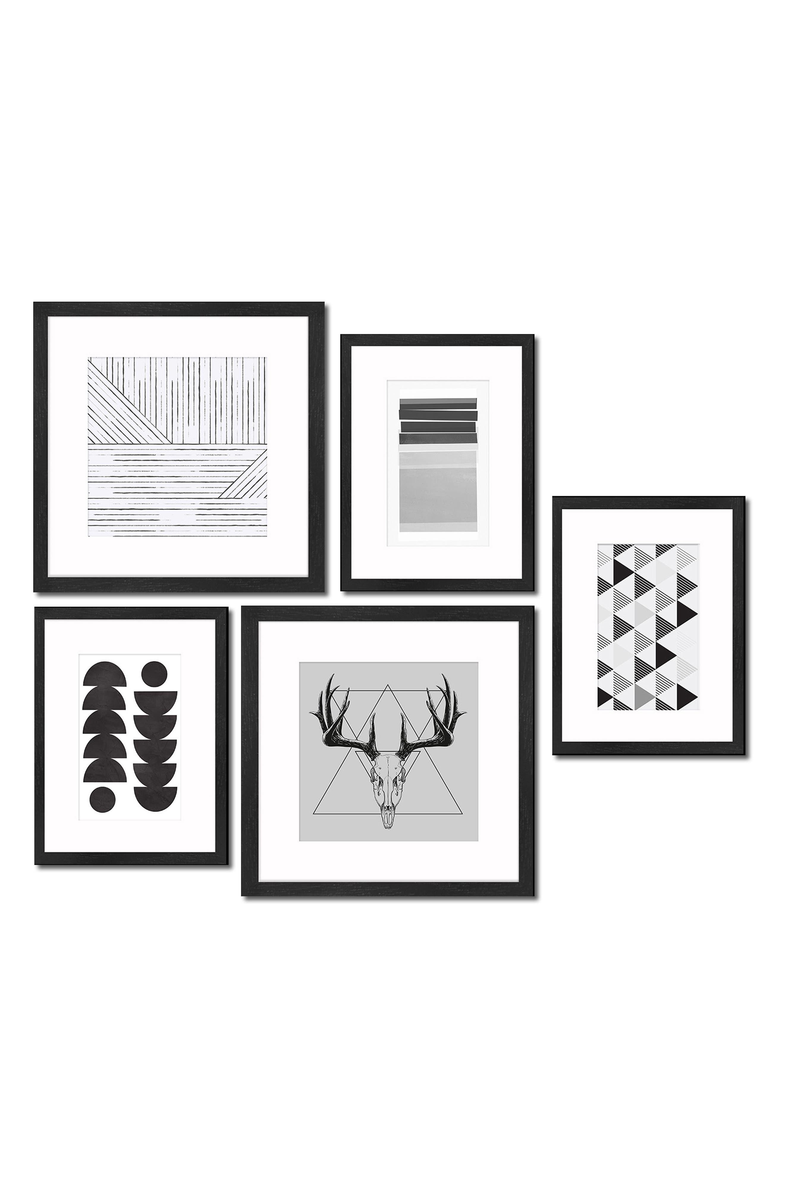 5-Piece Framed Wall Art Gallery,                         Main,                         color, Black