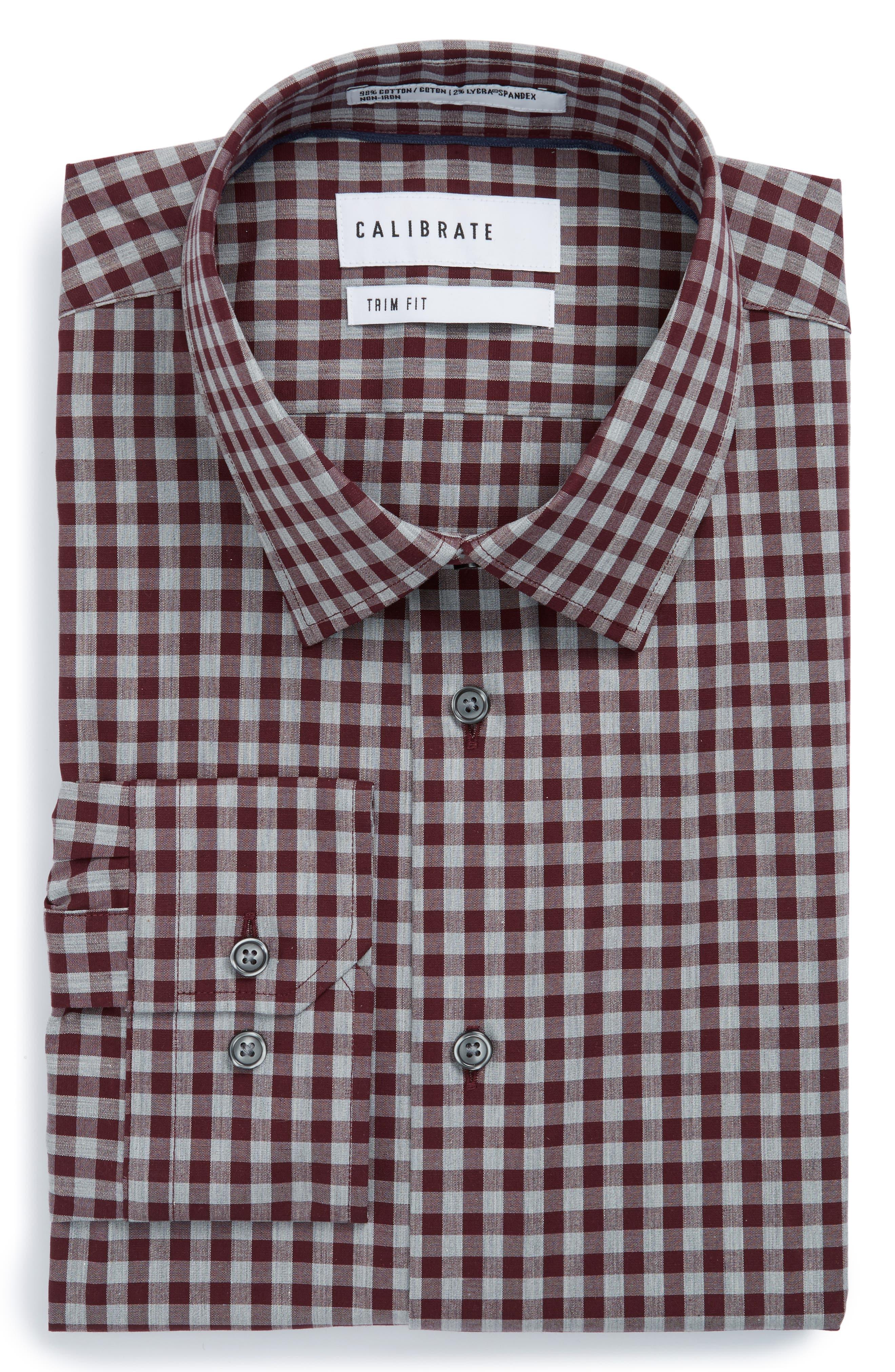 Trim Fit No-Iron Check Stretch Dress Shirt,                         Main,                         color, Burgundy Stem