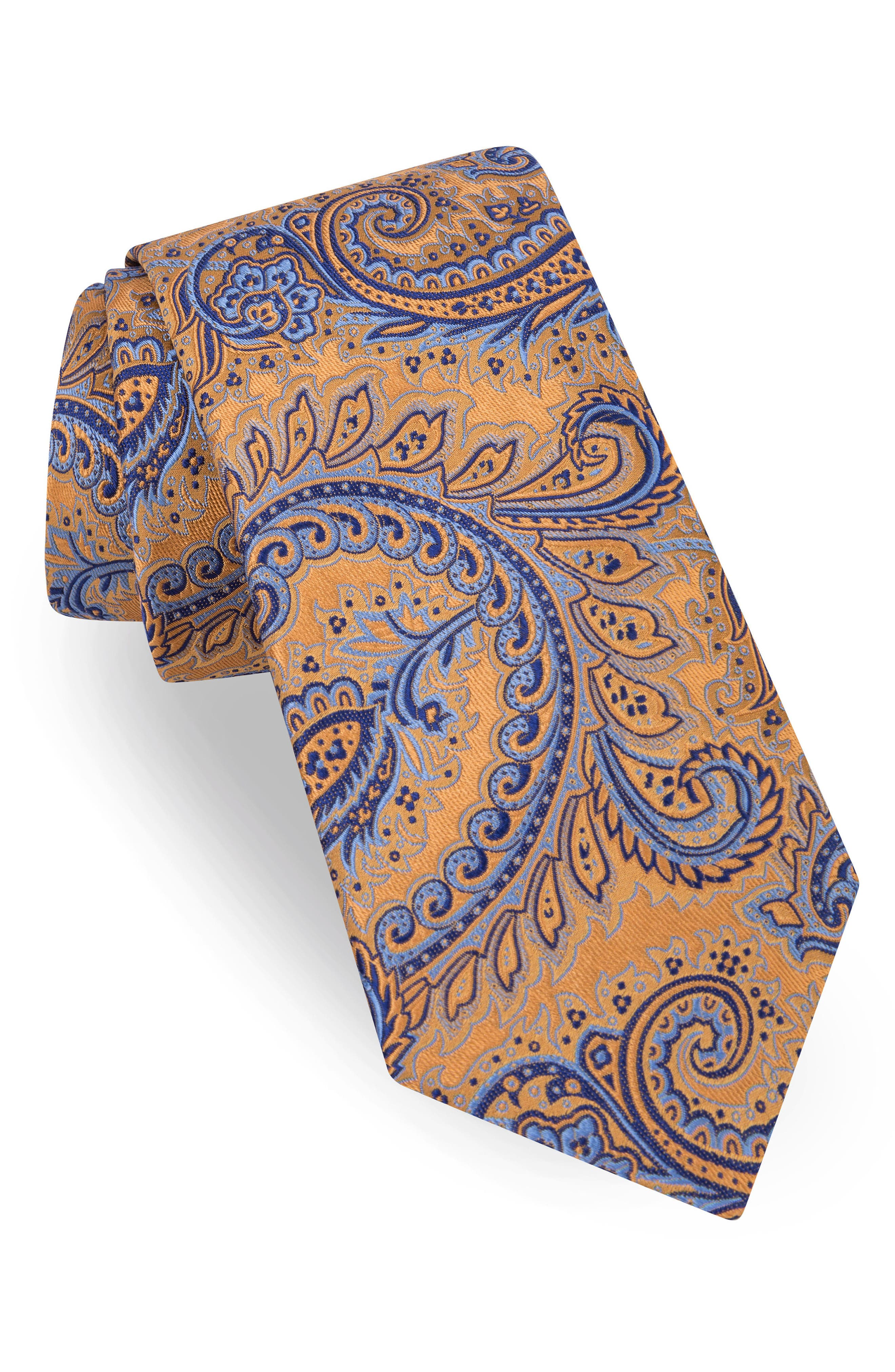 Paisley Silk Tie,                             Main thumbnail 1, color,                             Gold