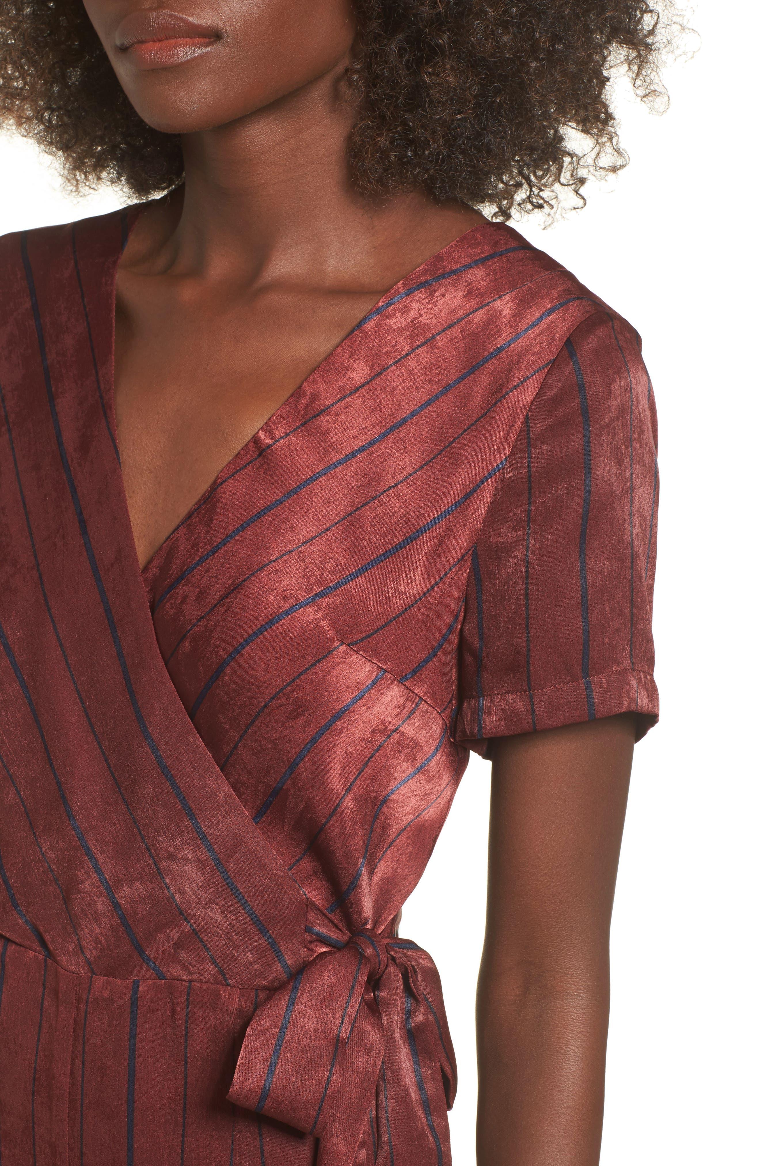 Stripe Jumpsuit,                             Alternate thumbnail 4, color,                             Wine Multi