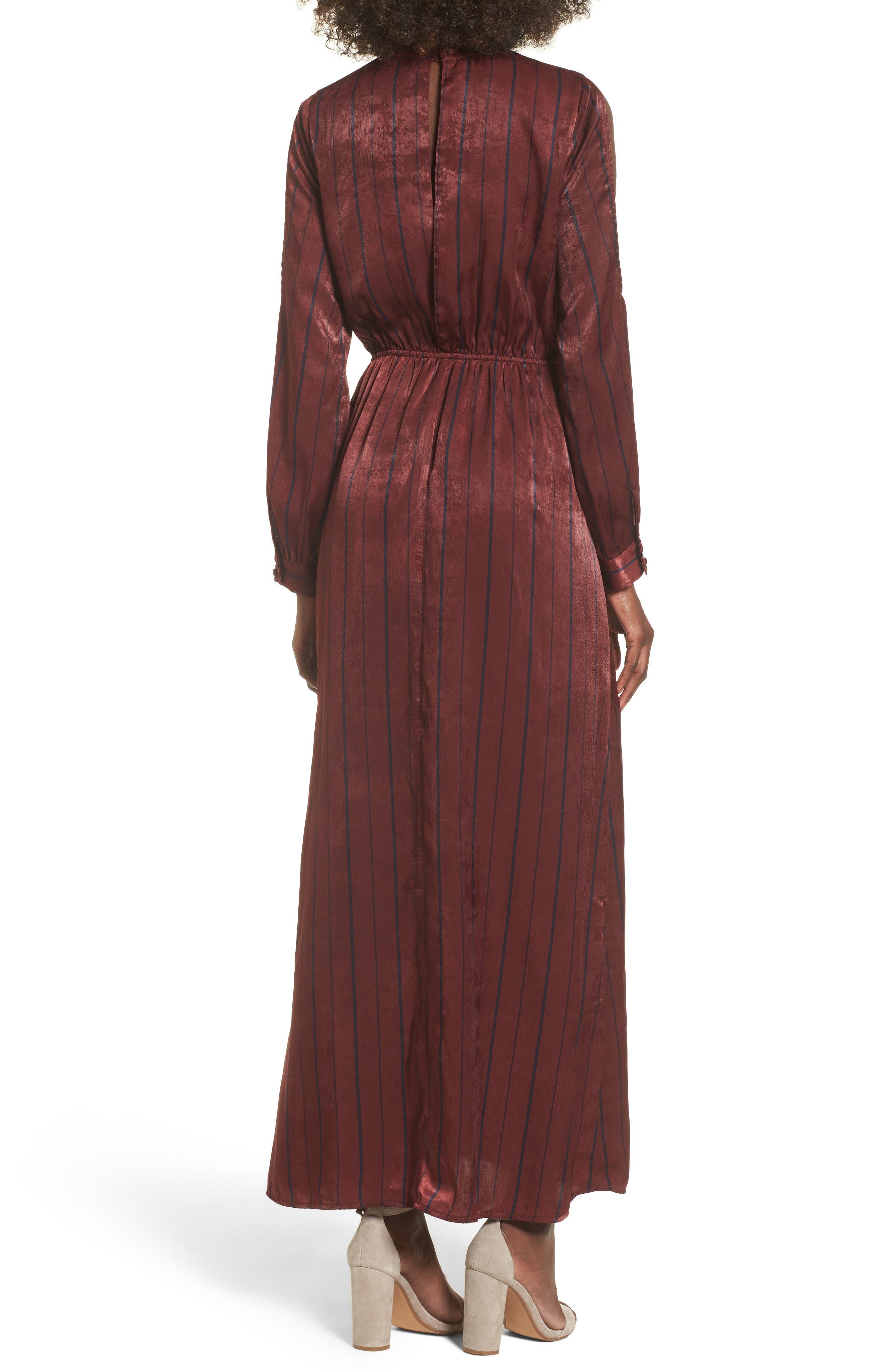 Cold Shoulder Maxi Dress,                             Alternate thumbnail 2, color,                             Wine Multi