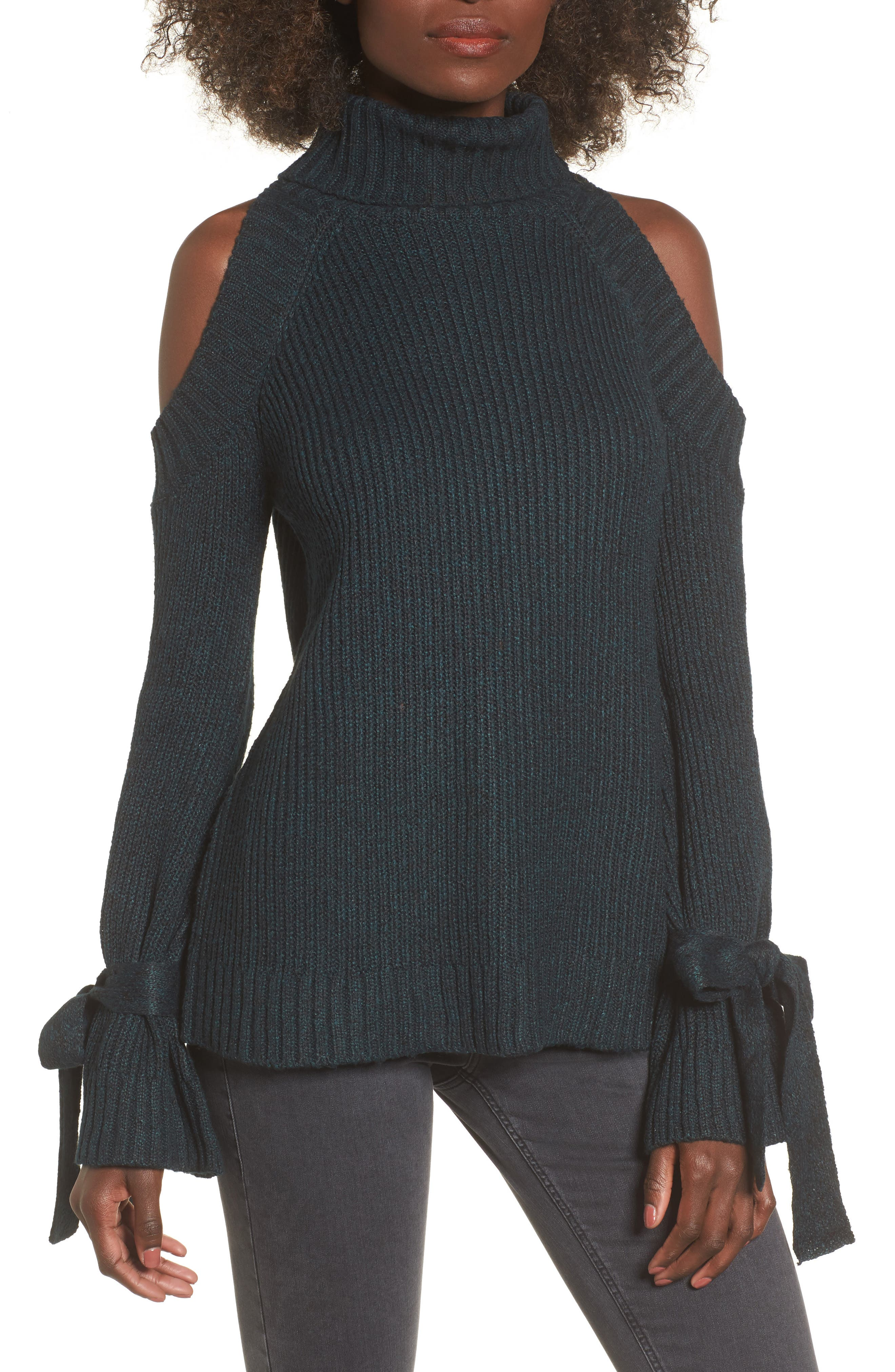 Main Image - J.O.A. Cold Shoulder Turtleneck Sweater