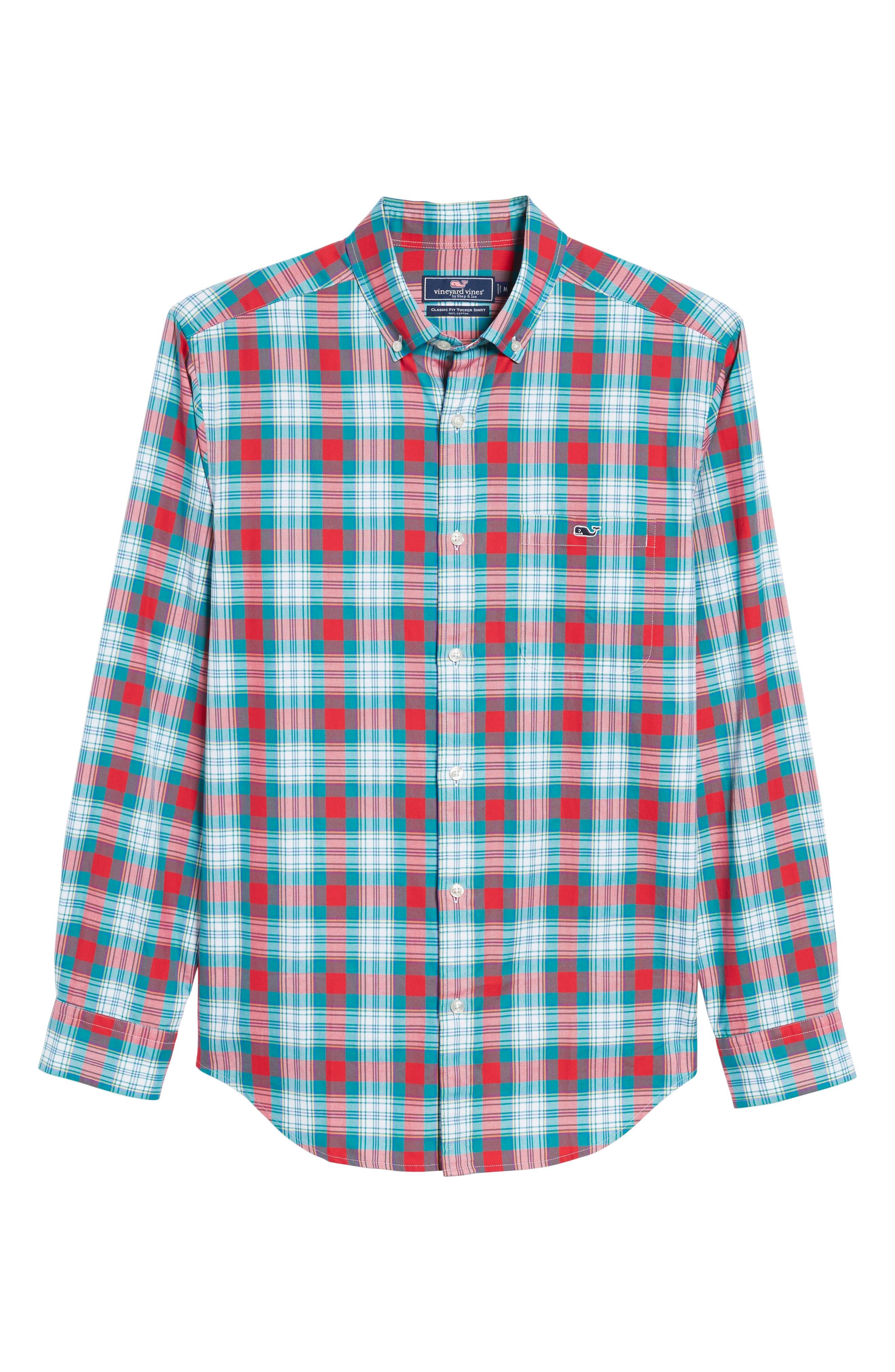 Elmwood Classic Fit Plaid Sport Shirt,                             Alternate thumbnail 6, color,                             Cape Teal