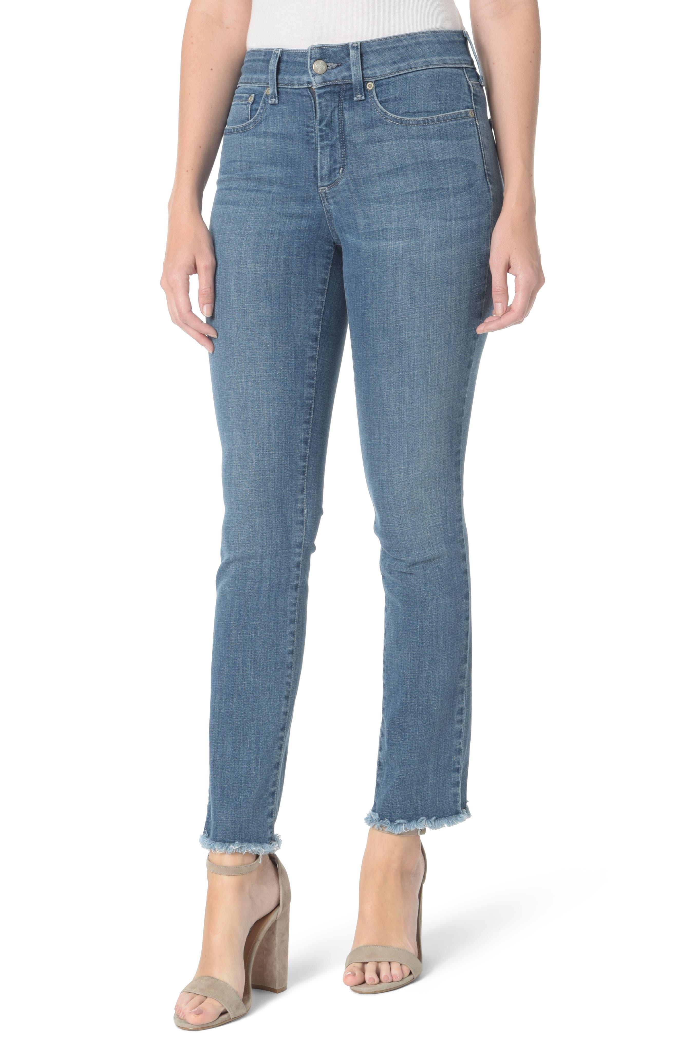 NYDJ Sheri Slim Fray Hem Ankle Jeans (Maxwell) (Regular & Petite)