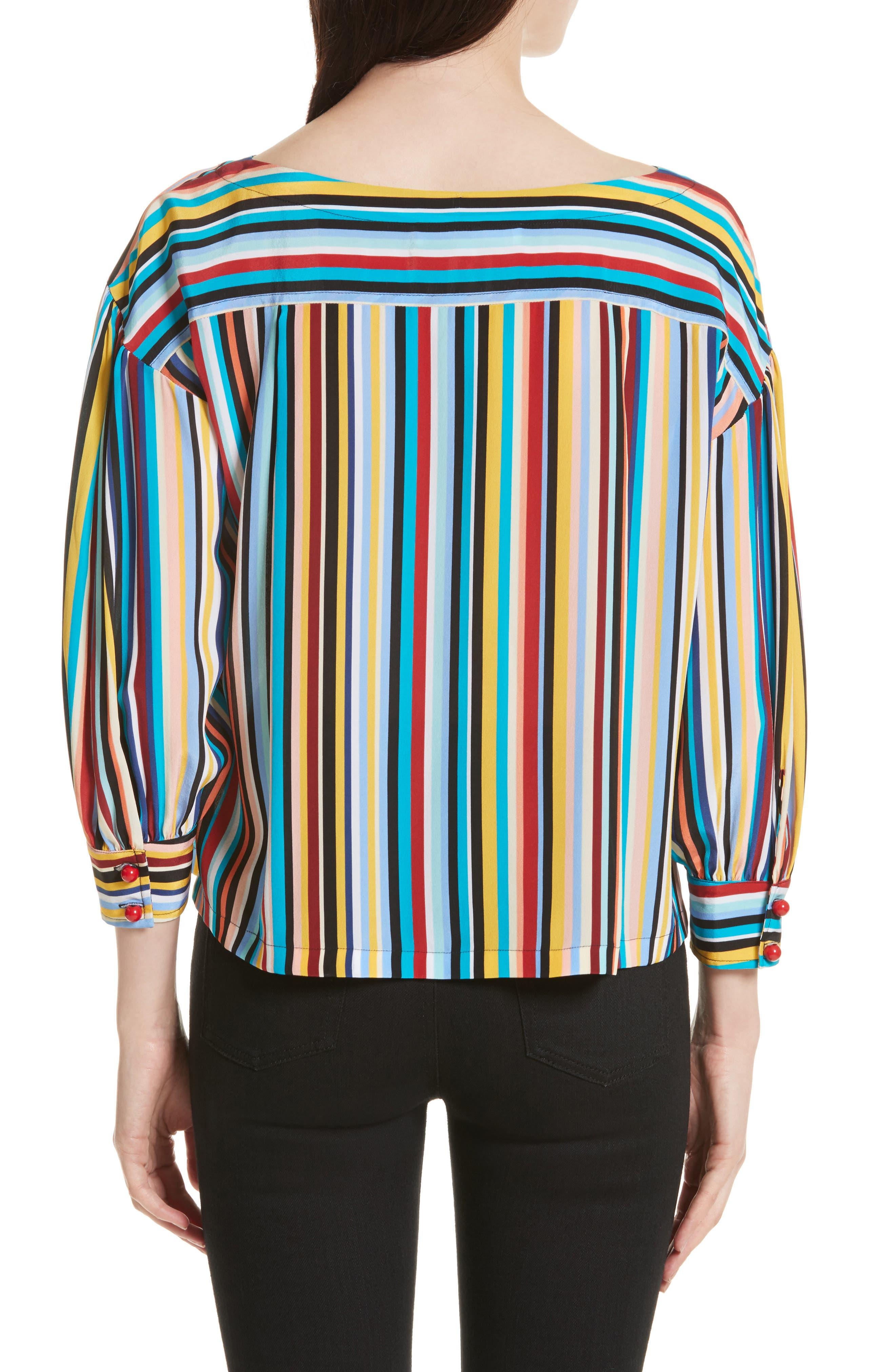 Stripe Silk Top,                             Alternate thumbnail 2, color,                             Skinny Stripes