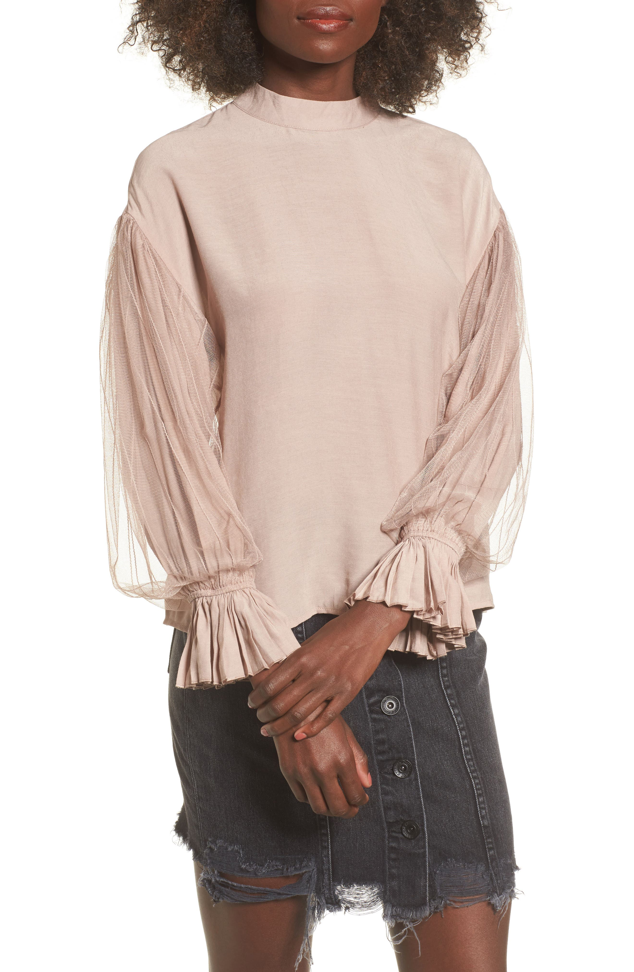 Tulle Puff Sleeve Top,                         Main,                         color, Dusty Rose