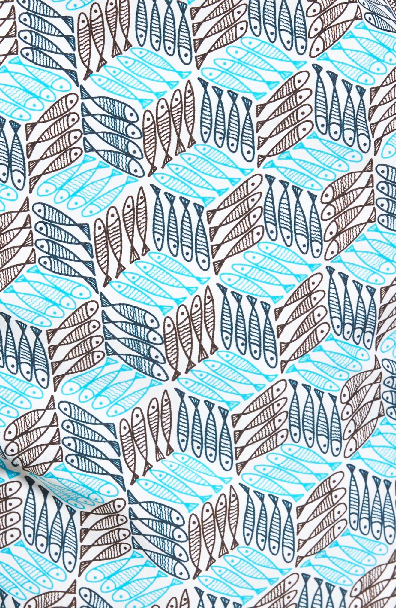 Cubed Fish Swim Trunks,                             Alternate thumbnail 5, color,                             Azure