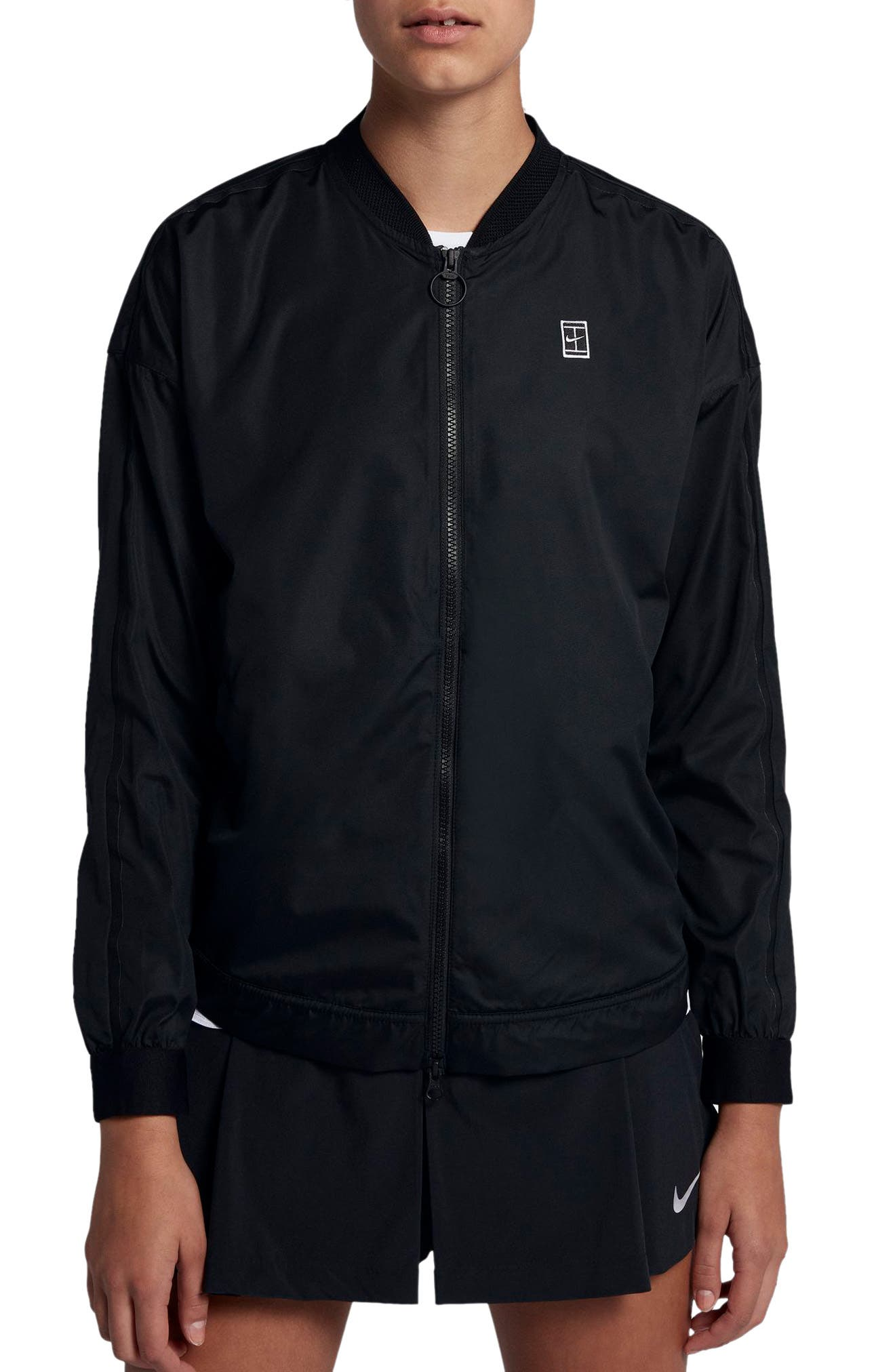 Court Water-Resistant Bomber Jacket,                         Main,                         color, Black/ Summit White/ White
