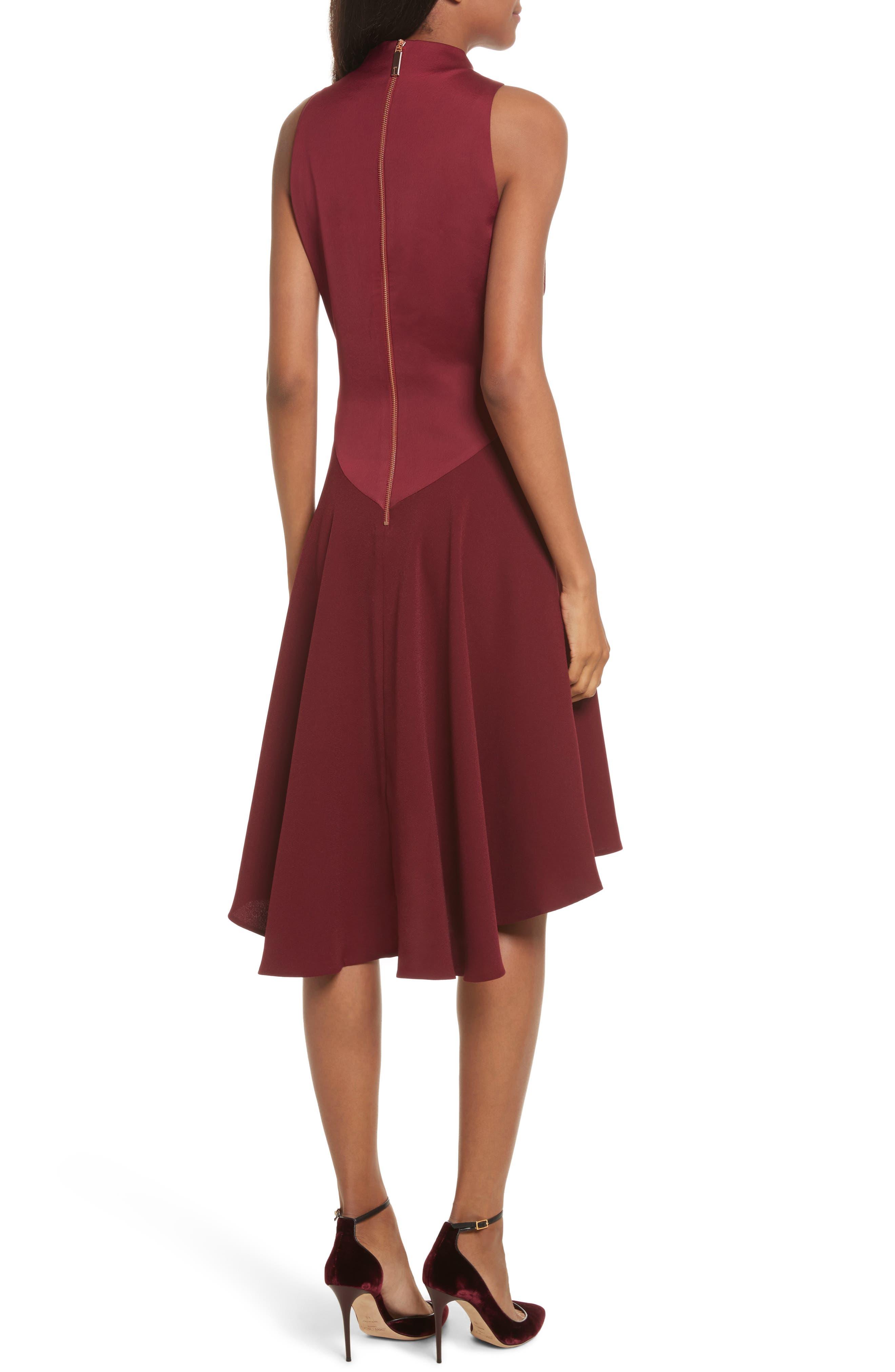 Mock Neck Fit & Flare Dress,                             Alternate thumbnail 2, color,                             Maroon