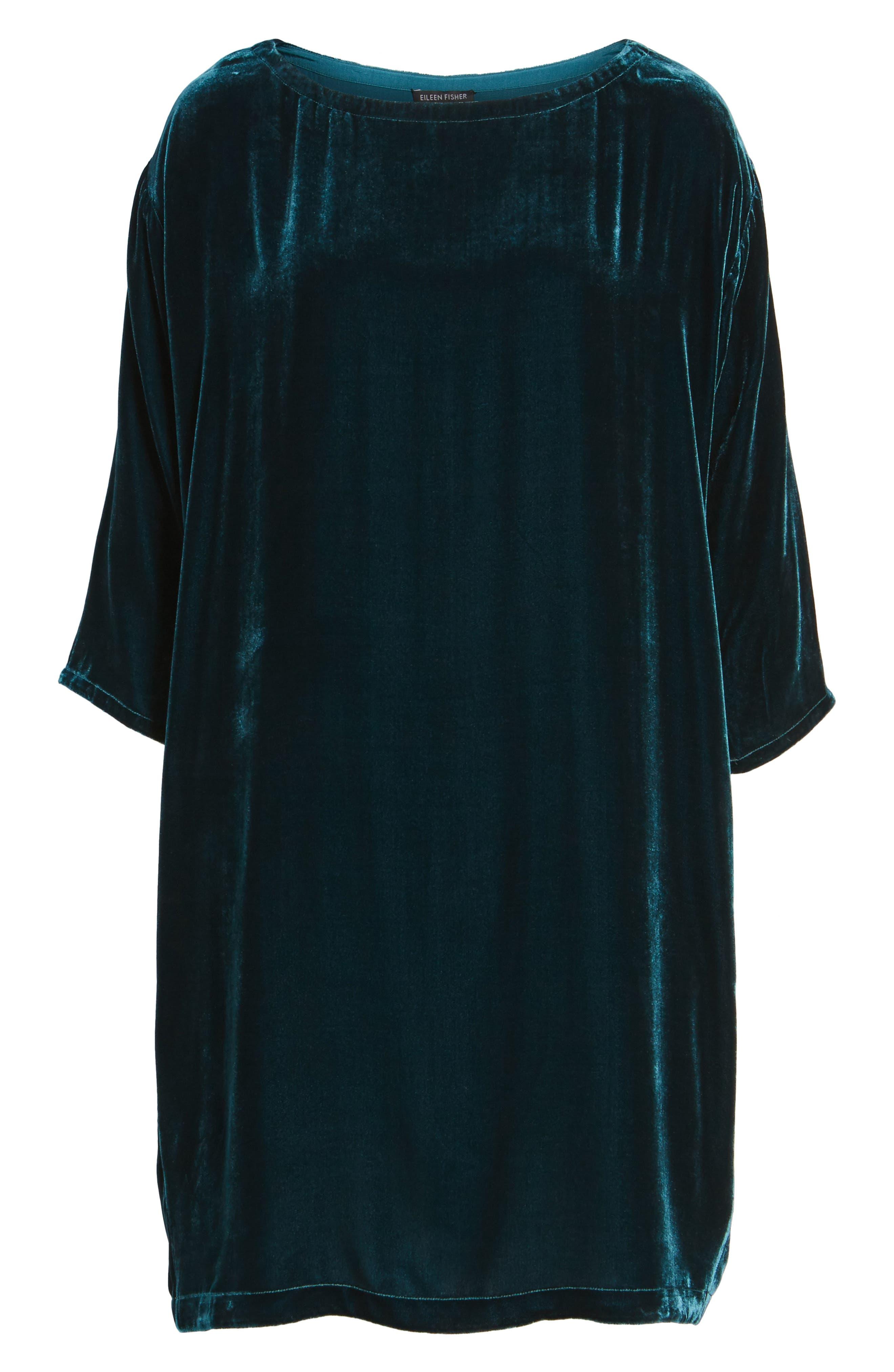 Velvet Shift Dress,                             Alternate thumbnail 6, color,                             Blue Spruce