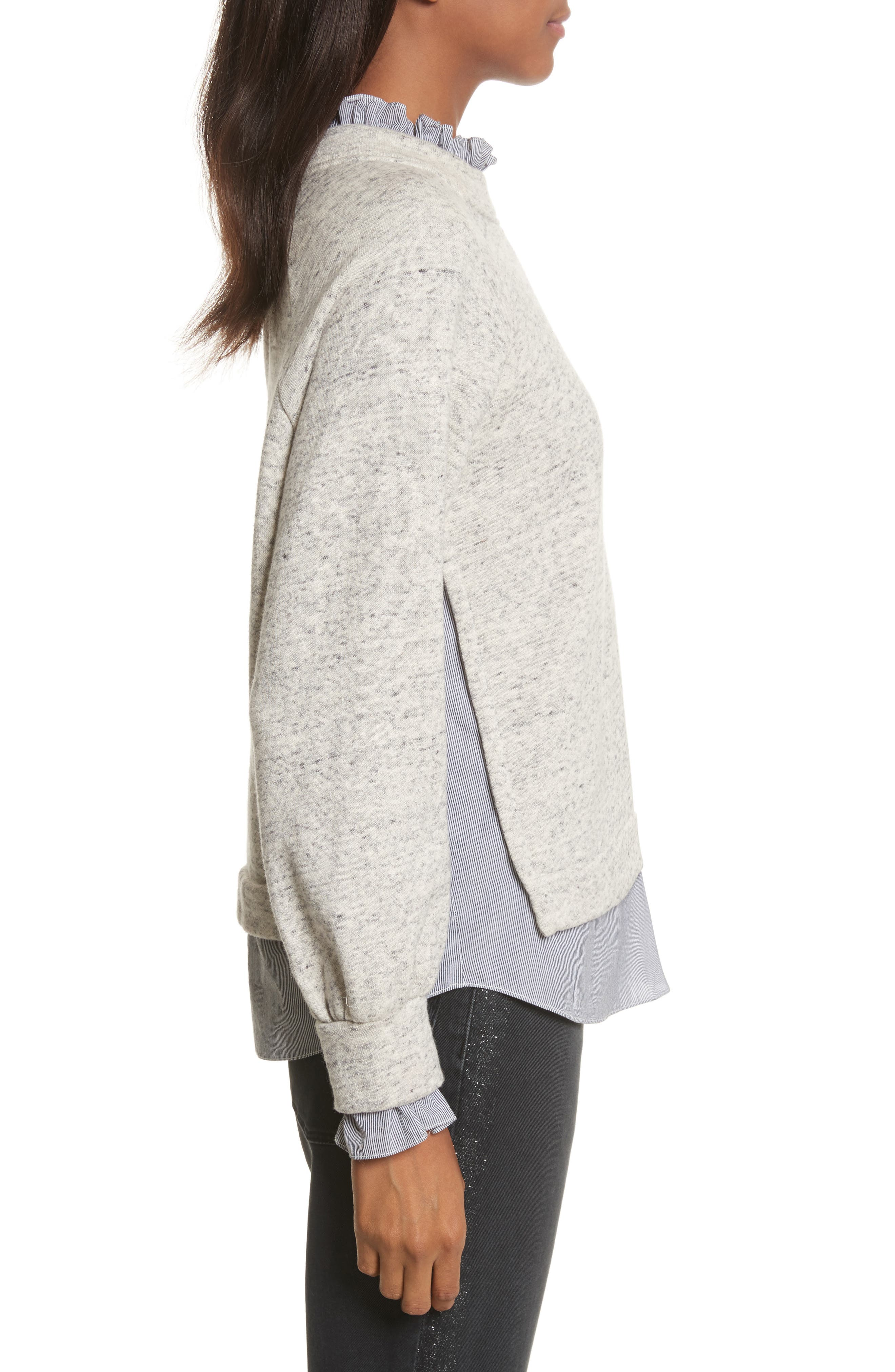 French Terry & Poplin Pullover,                             Alternate thumbnail 3, color,                             Grey Speckle