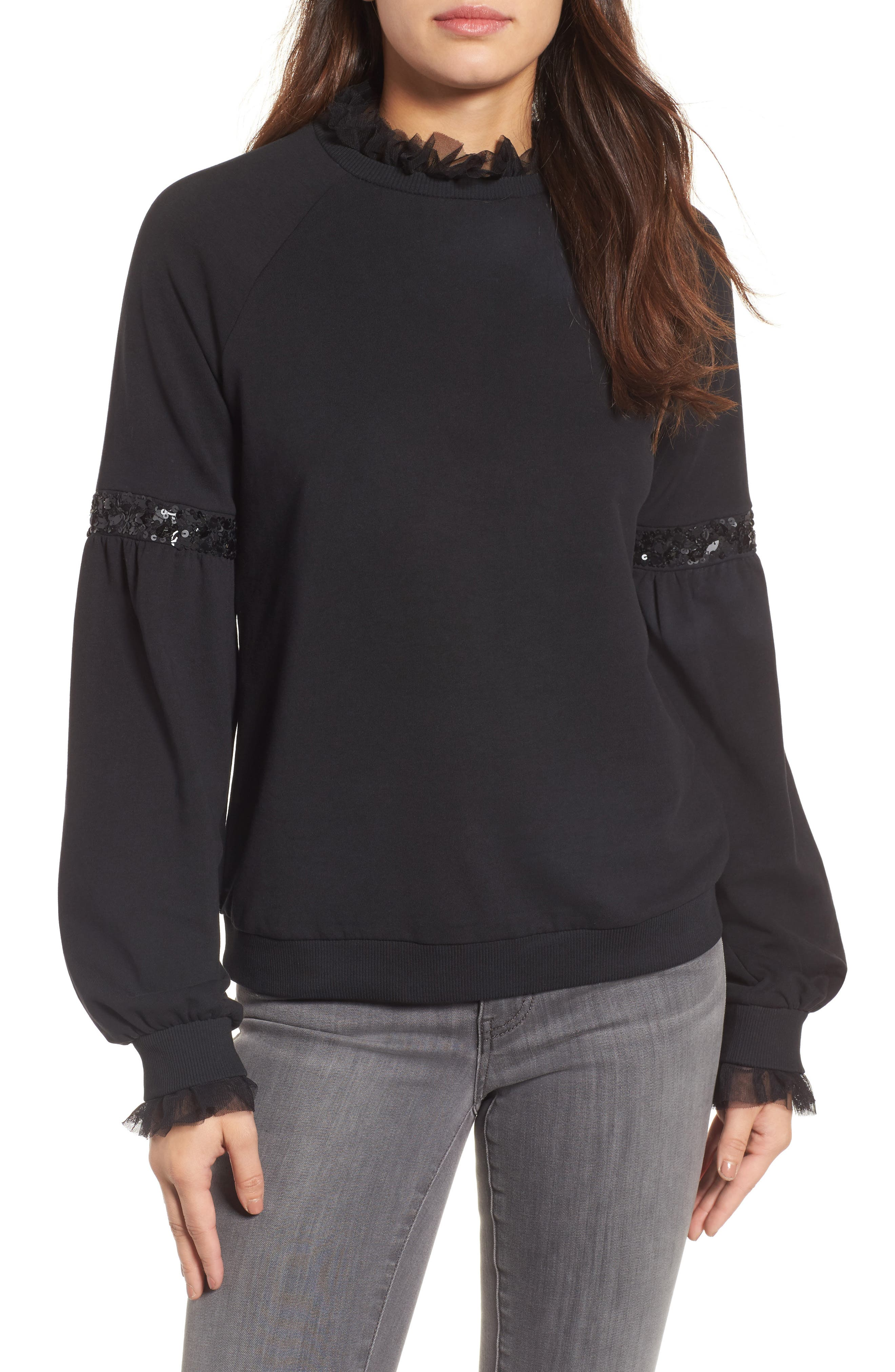 Halogen® Tulle and Sequin Sweatshirt