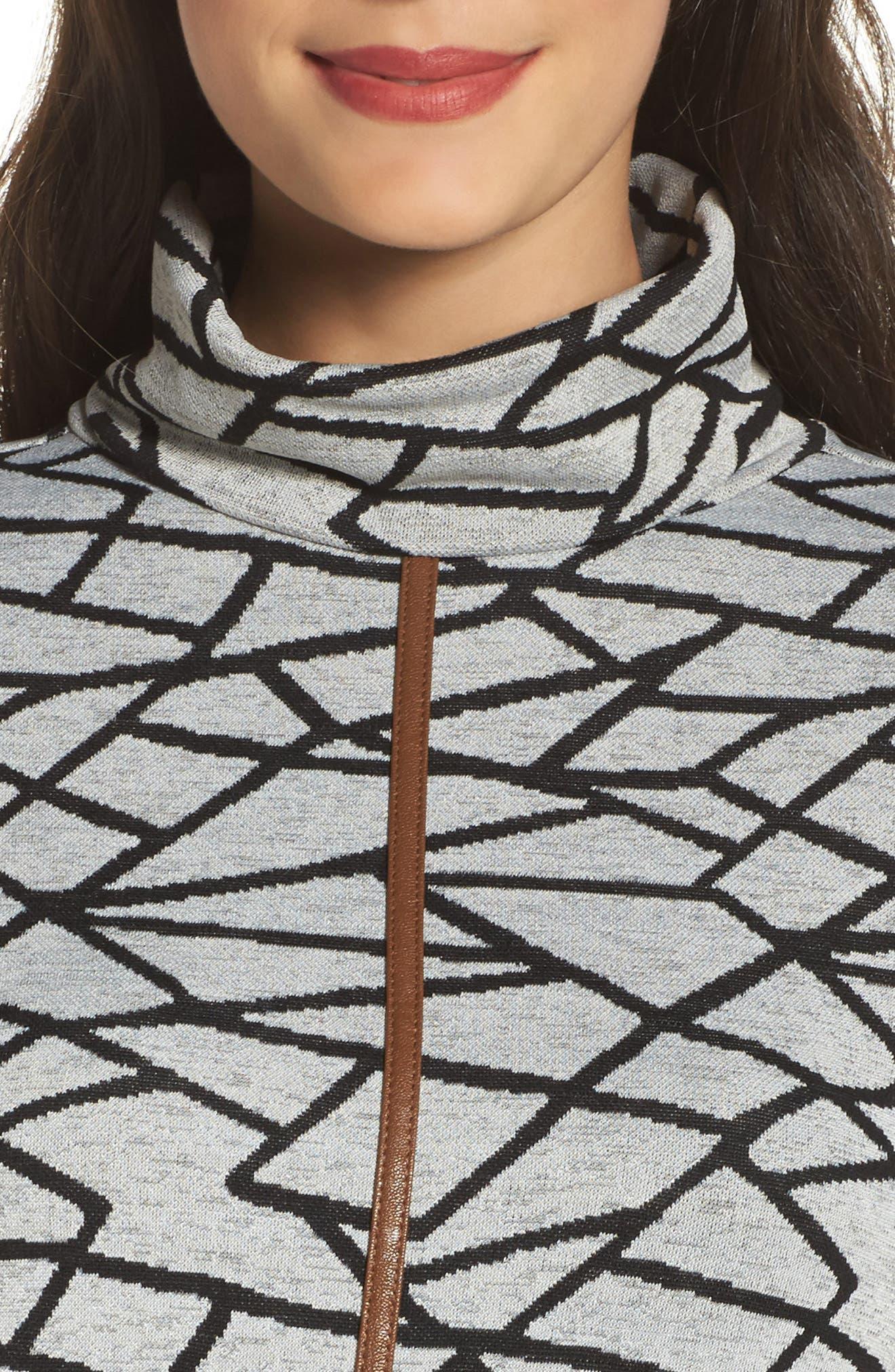 Turtleneck Sweater Dress,                             Alternate thumbnail 4, color,                             Black
