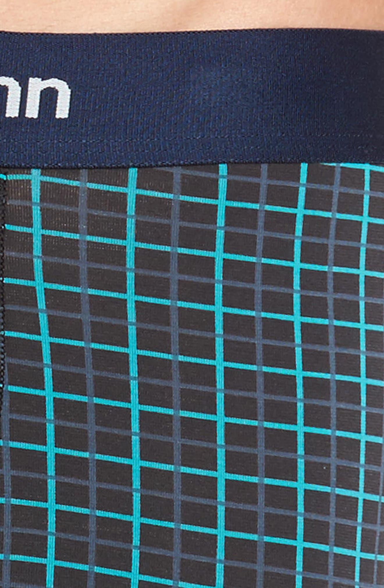 Cool Cotton Quad Print Boxer Trunks,                             Alternate thumbnail 4, color,                             Slate Blue Plaid