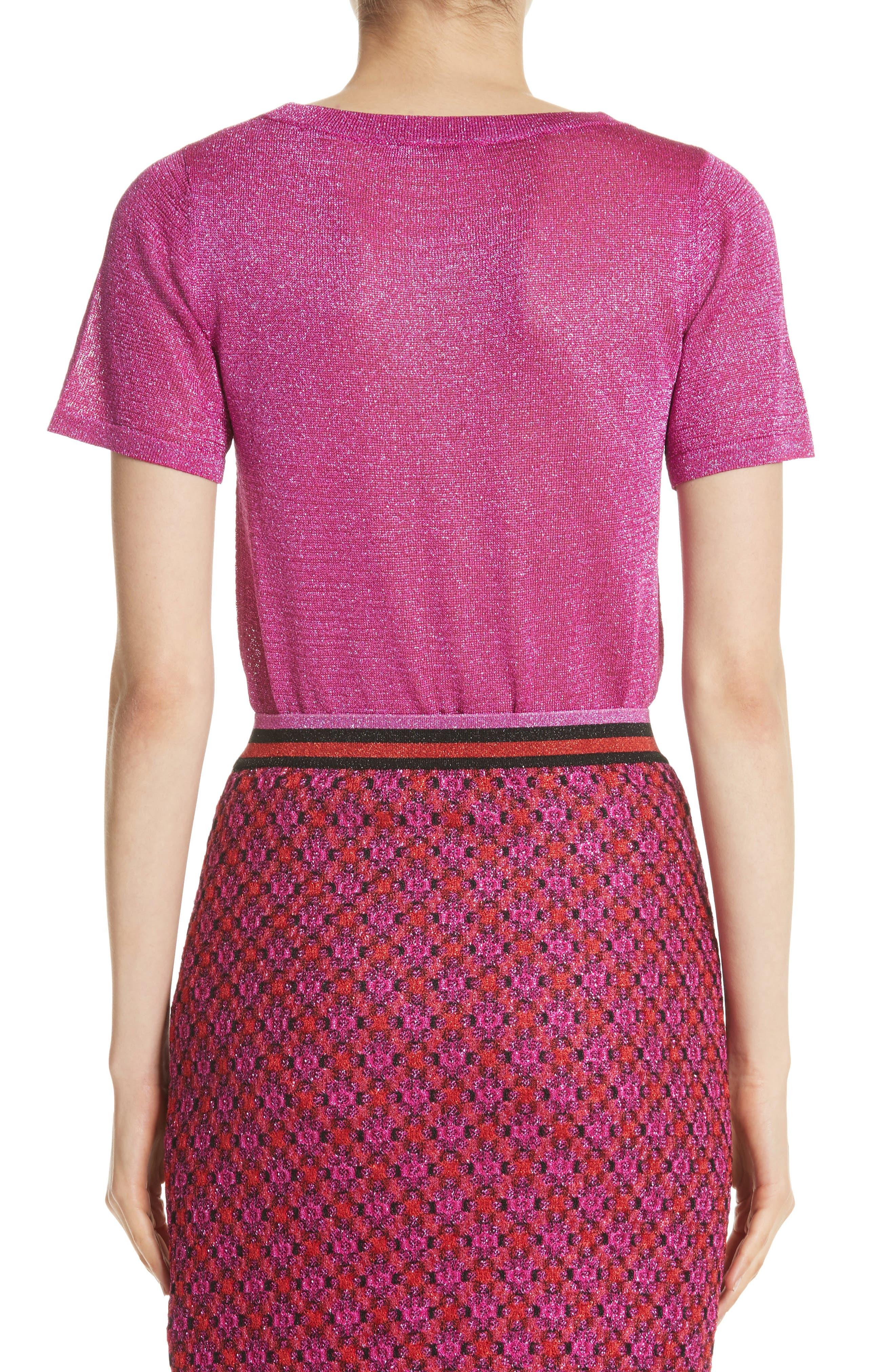 Metallic Knit Tee,                             Alternate thumbnail 2, color,                             Pink