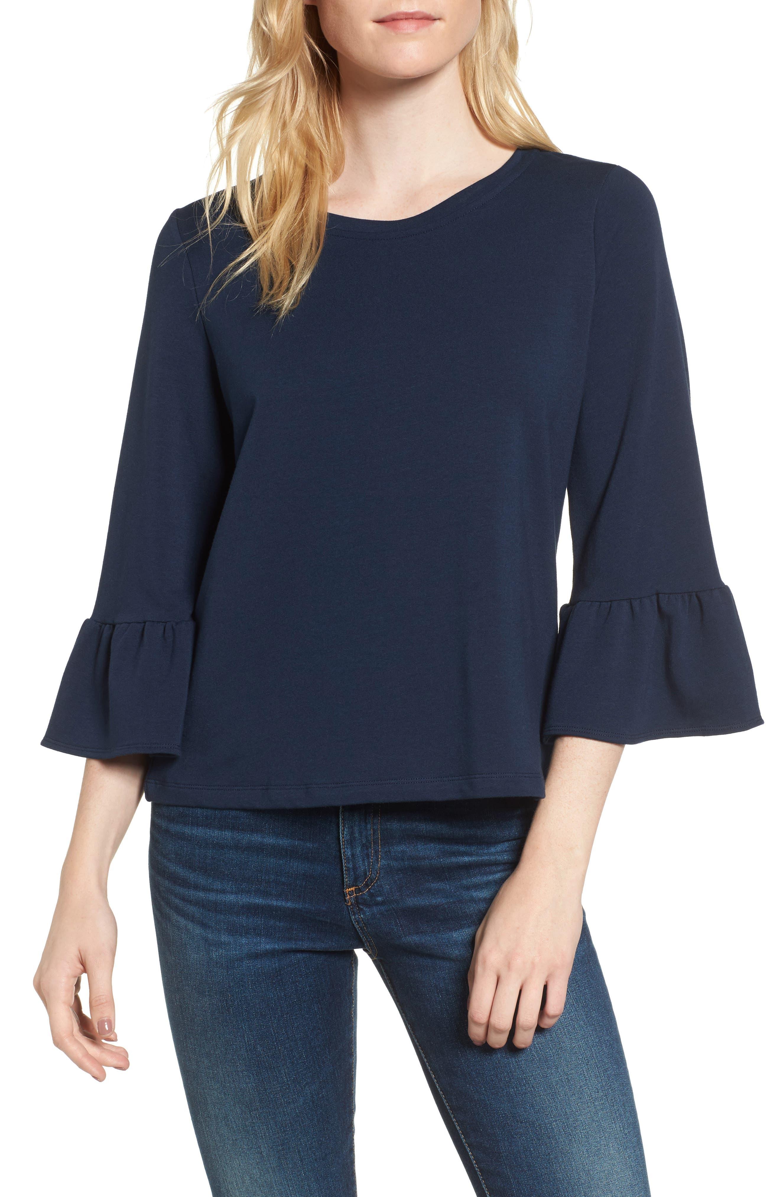 Bernadette Bell Sleeve Sweatshirt,                         Main,                         color, Navy