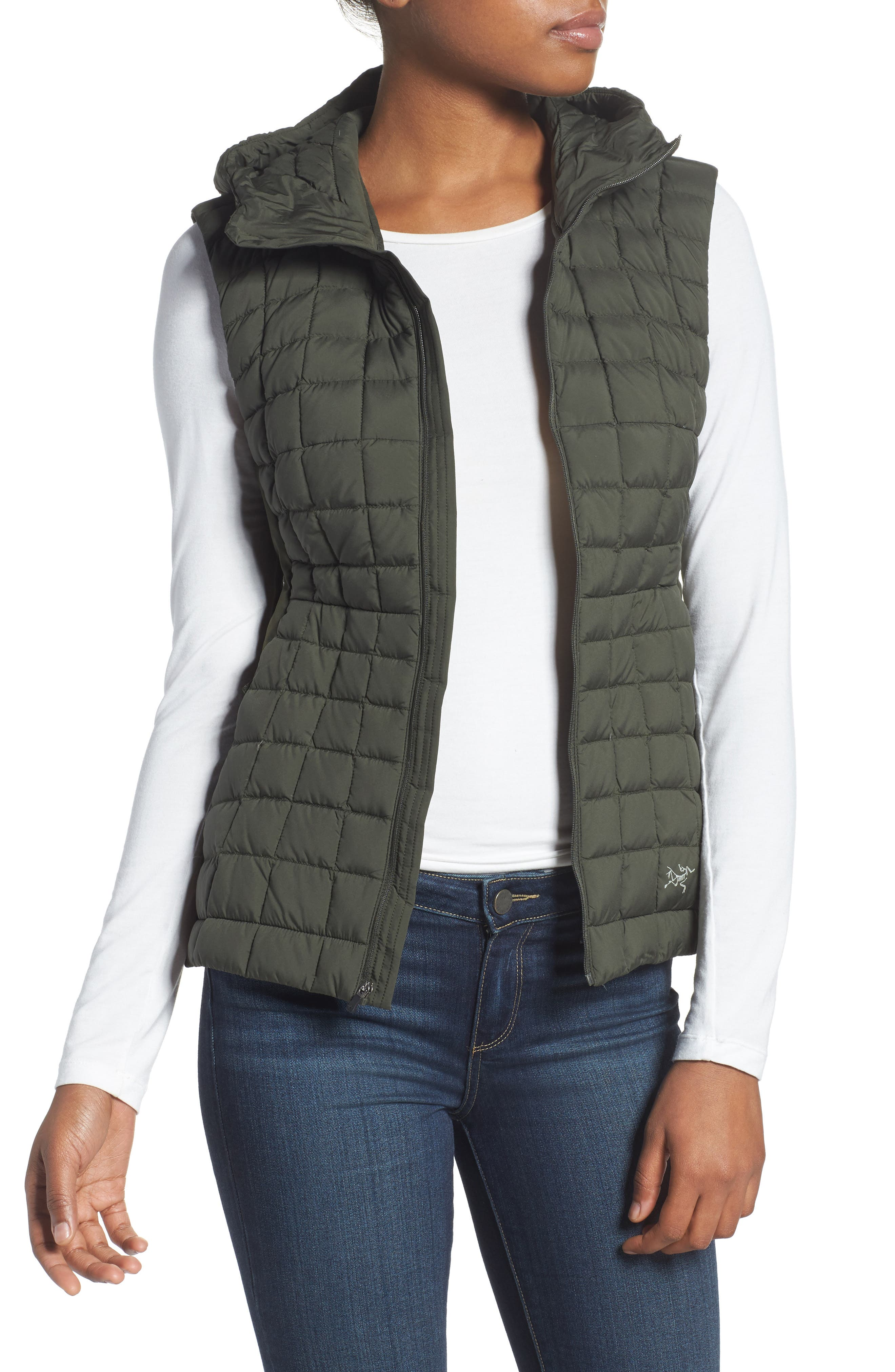 'Narin' Water Repellent Vest,                         Main,                         color, Caper