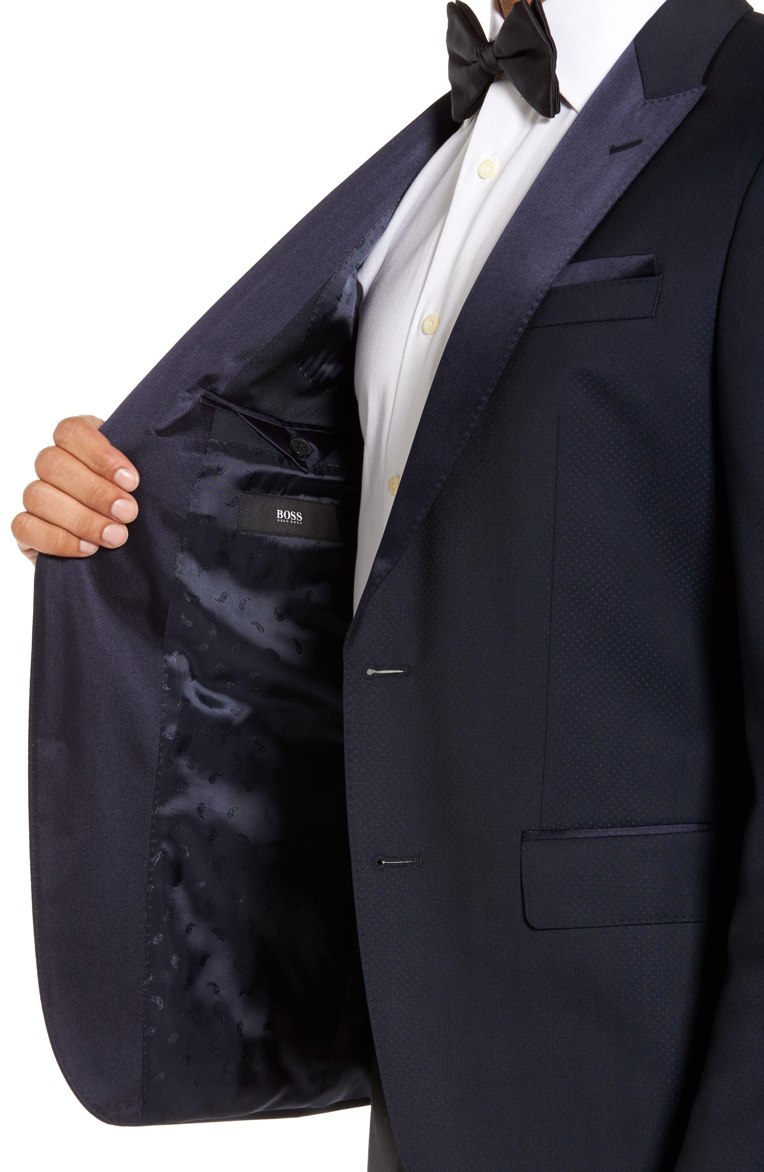 Helward Trim Fit Wool Dinner Jacket,                             Alternate thumbnail 4, color,                             Navy
