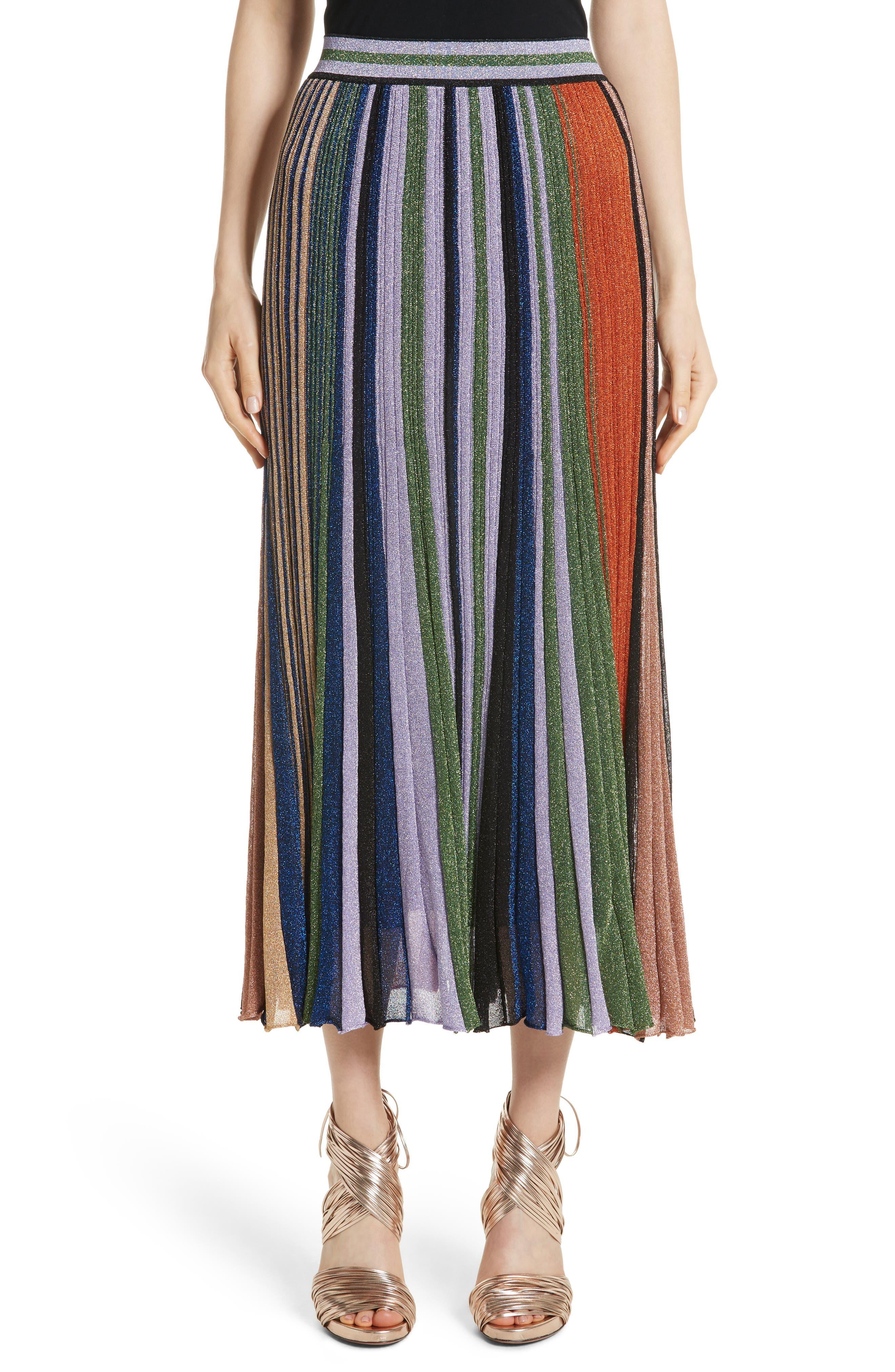 Metallic Stripe Knit Midi Skirt,                         Main,                         color, Orange