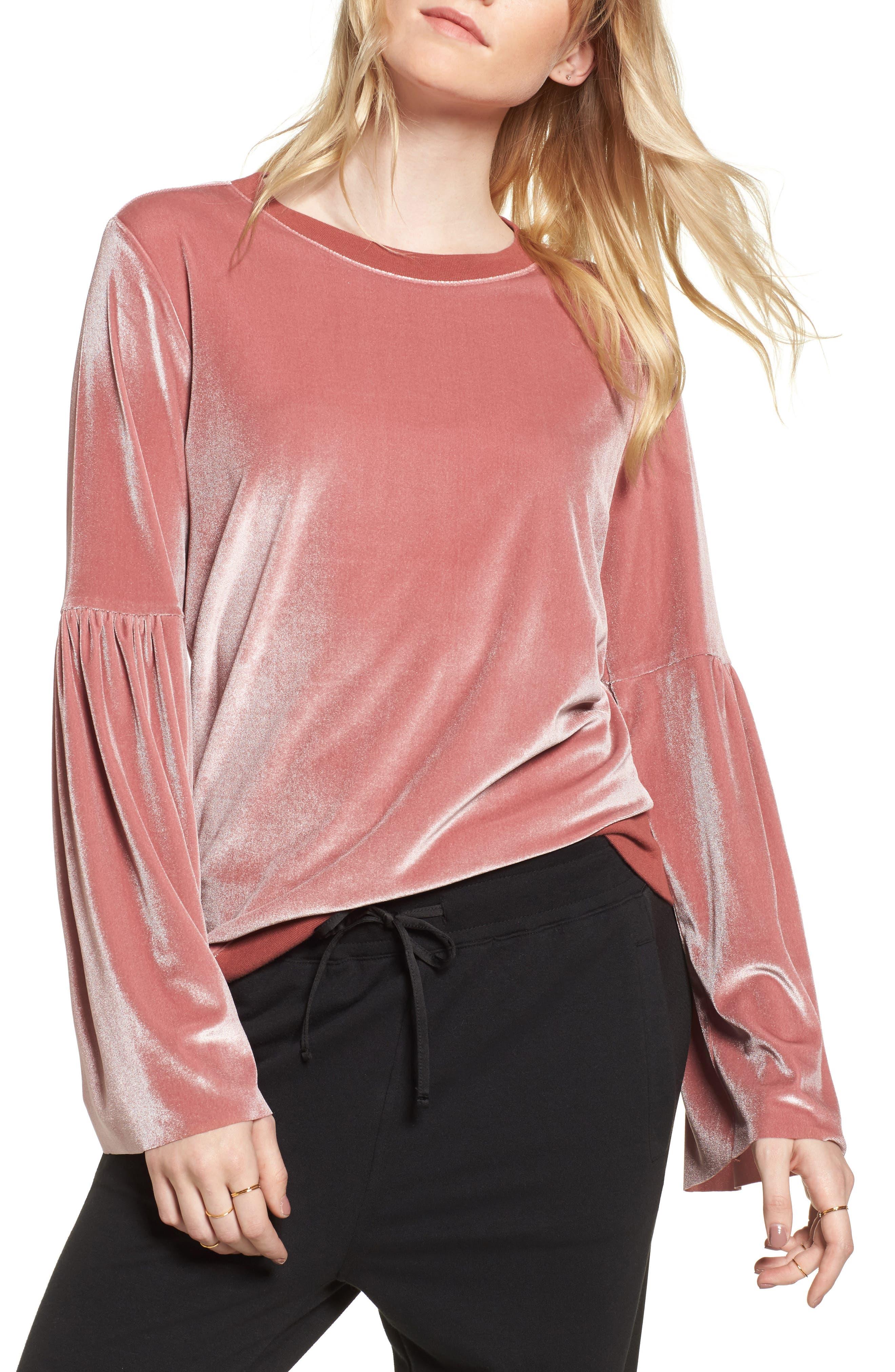 Velour Sweatshirt,                         Main,                         color, Pink Deco