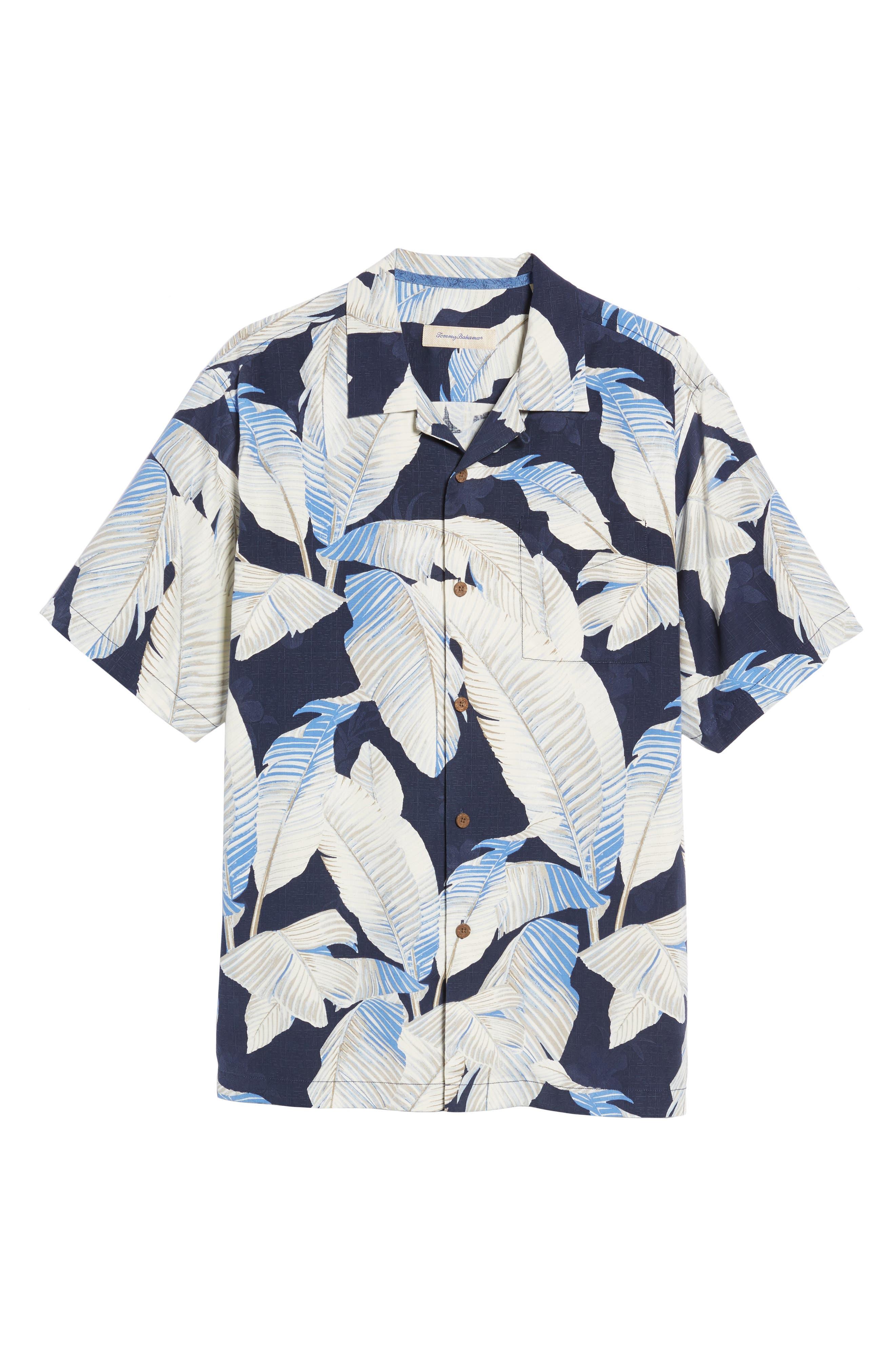 Cascara Fronds Silk Camp Shirt,                             Alternate thumbnail 6, color,                             Ocean Deep