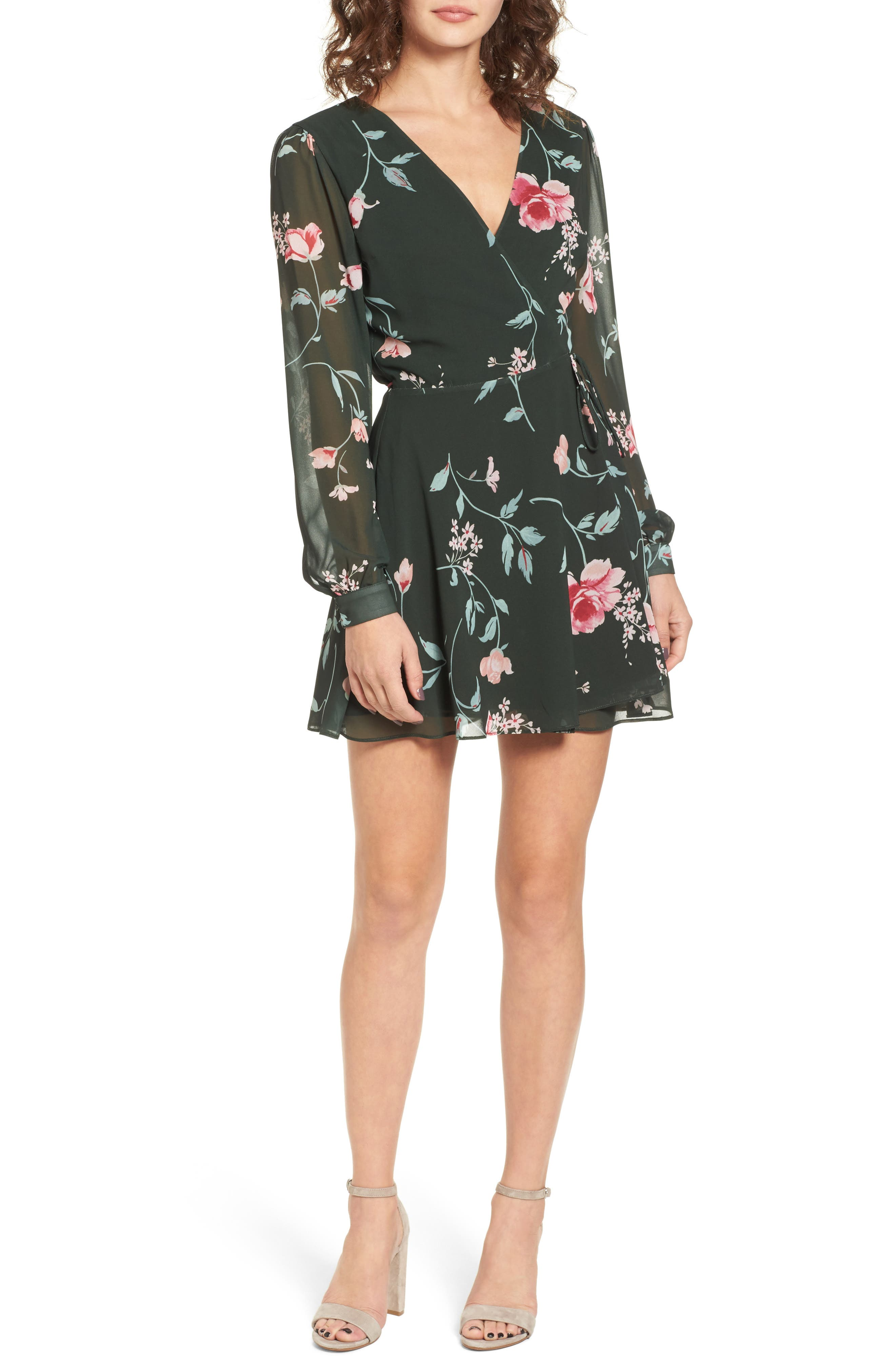Castor Wrap Dress,                             Main thumbnail 1, color,                             Evergreen Floral