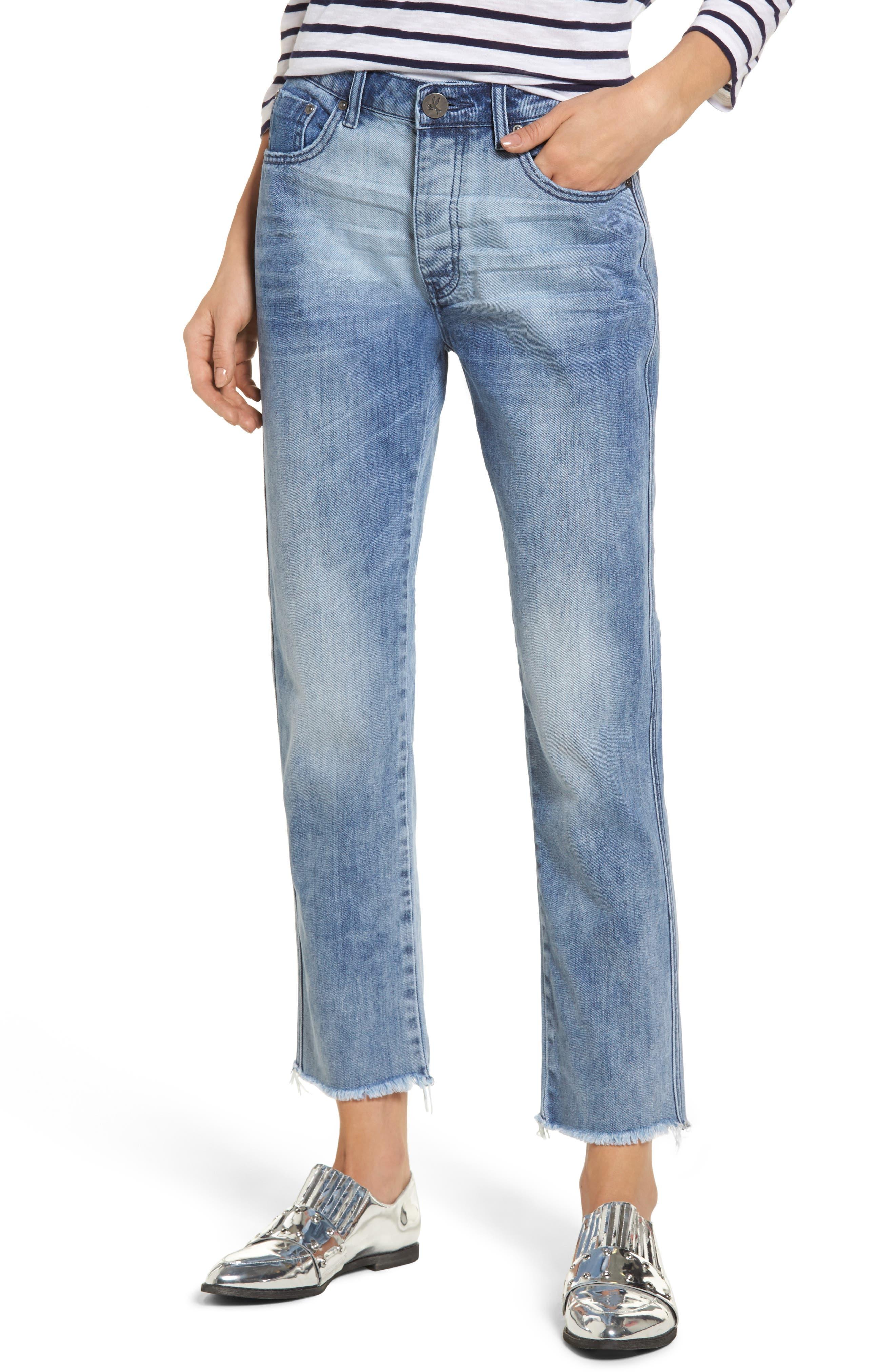 Tuckers High Waist Straight Leg Jeans,                         Main,                         color, Blue