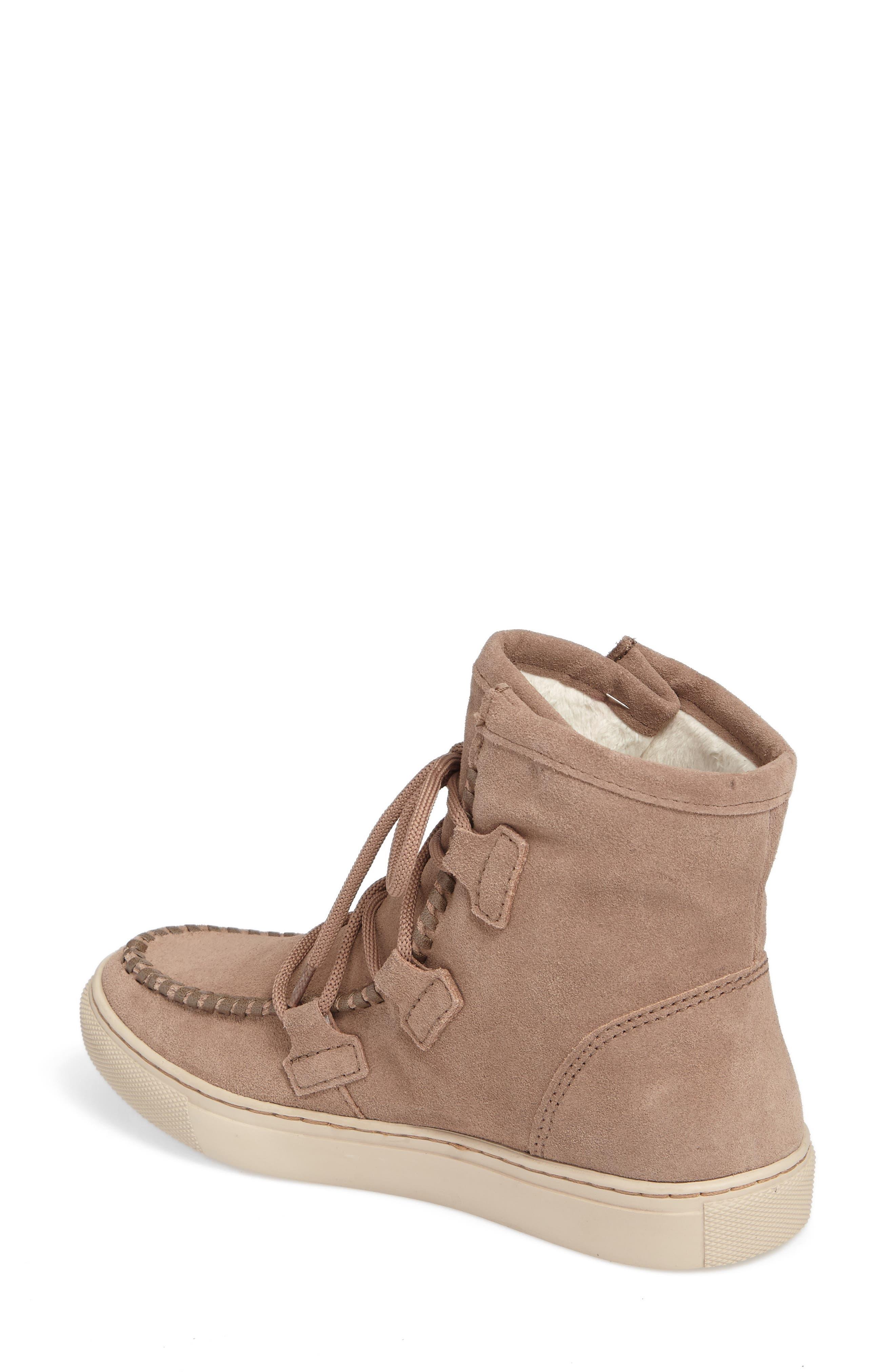Fabiola Waterproof High Top Sneaker,                             Alternate thumbnail 2, color,                             Taupe Suede