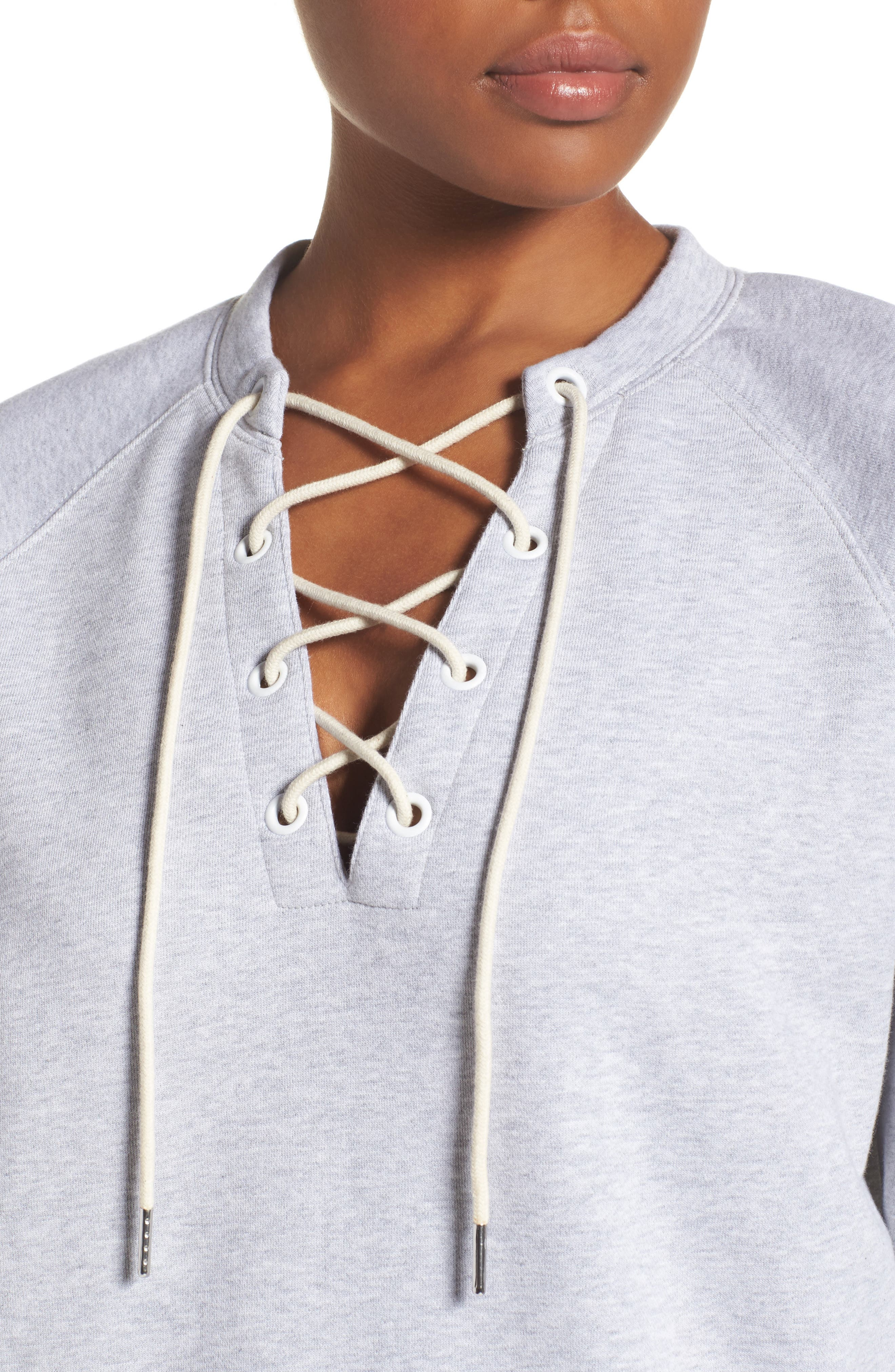 Lace-Up Pullover,                             Alternate thumbnail 4, color,                             Grey Ash Heather