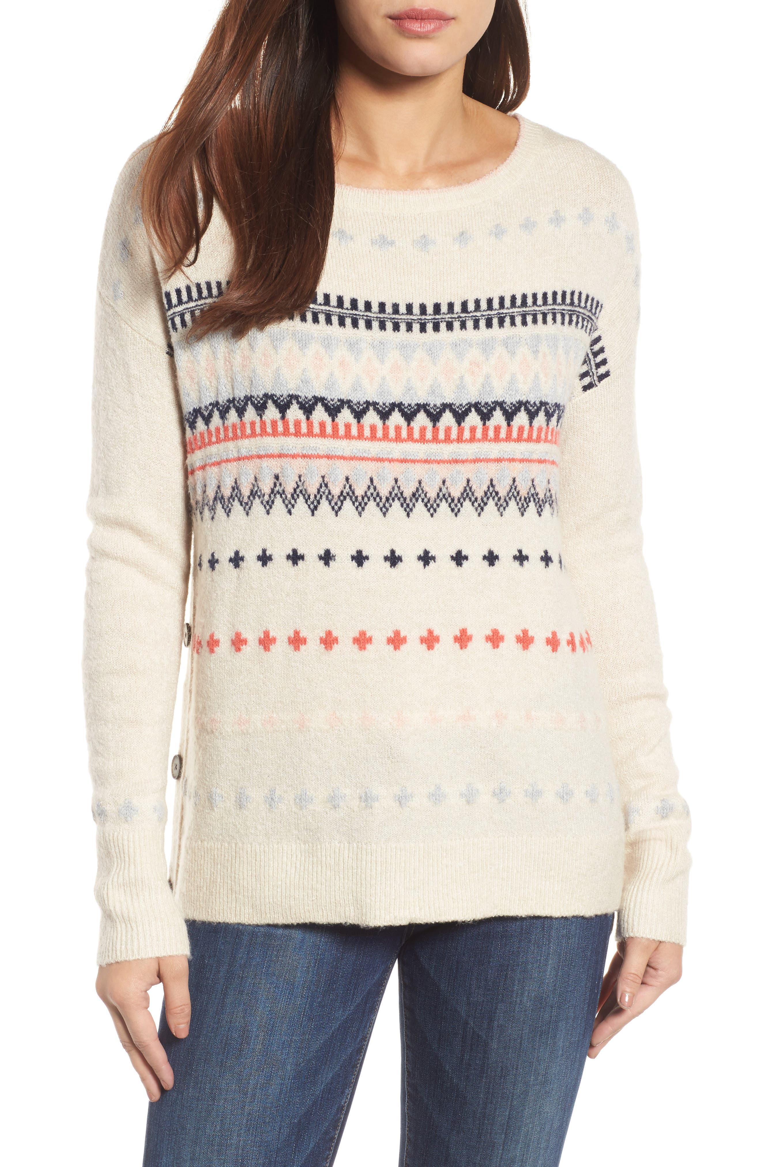 Long Sleeve Side Button Sweater,                         Main,                         color, Ivory Coral Pattern