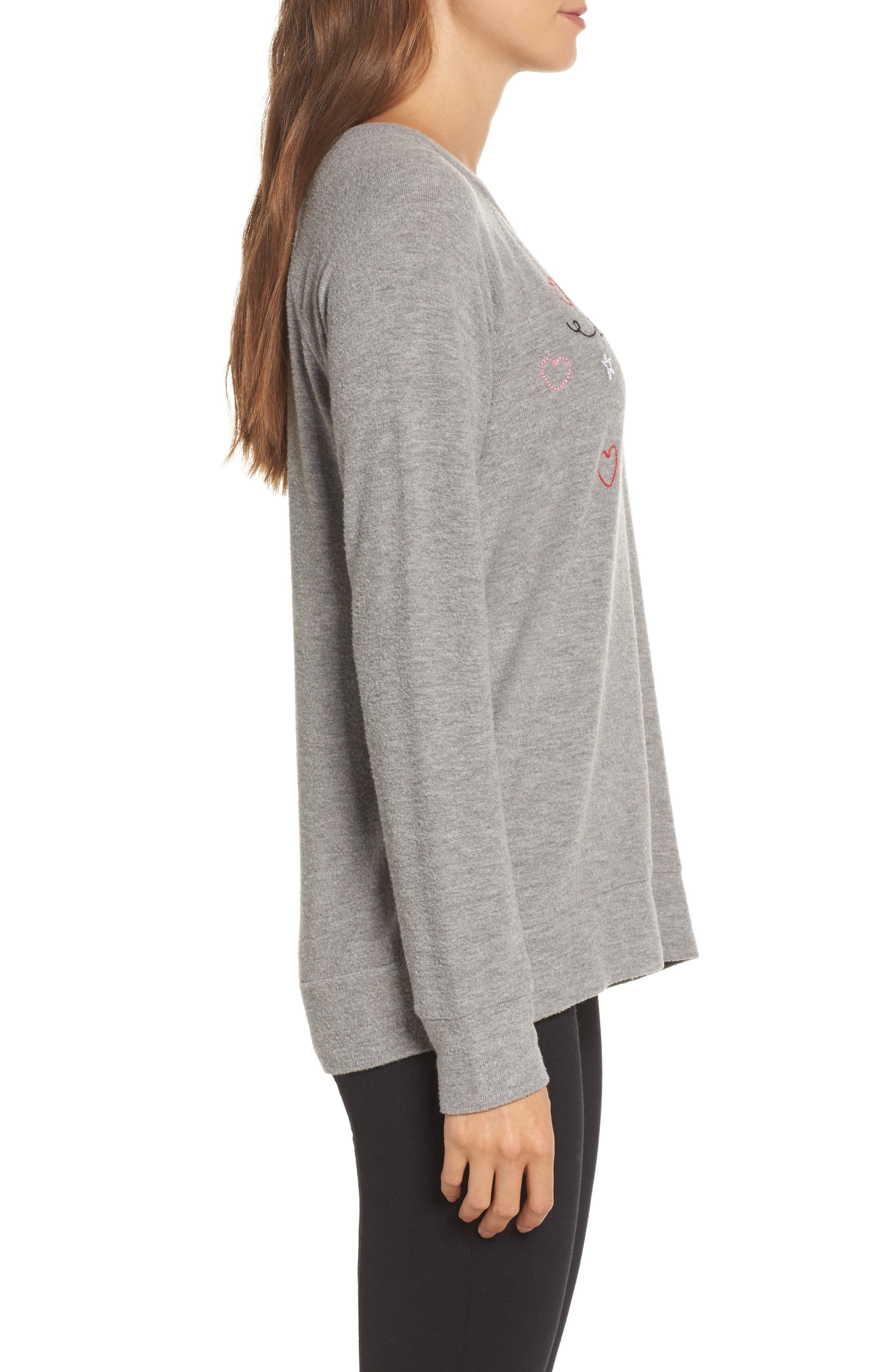 Love Knit Raglan Sweater,                             Alternate thumbnail 3, color,                             Heather Grey