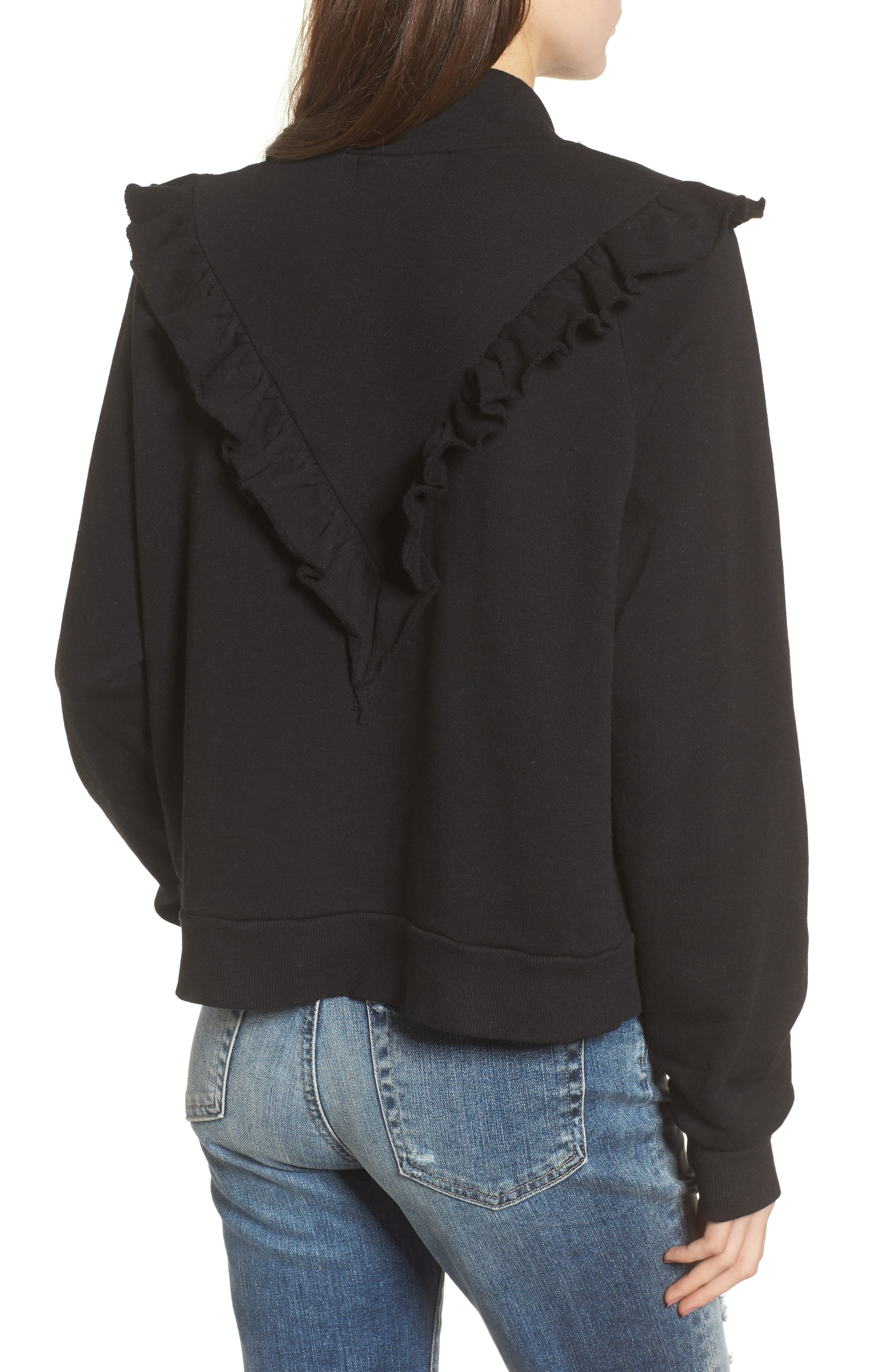 Prima Ruffle Warm-Up Pullover,                             Alternate thumbnail 2, color,                             Black