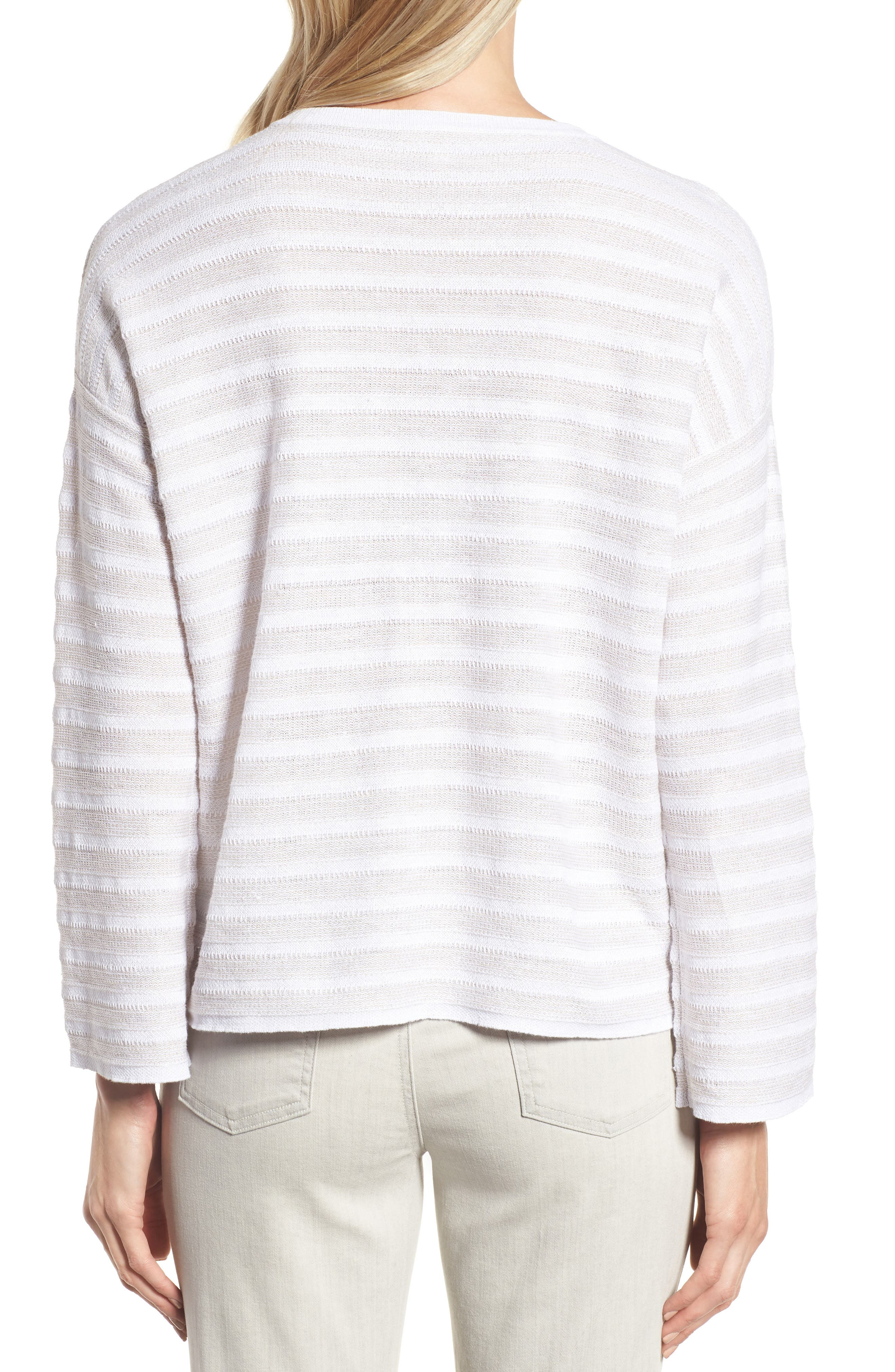 Textured Organic Linen Sweater,                             Alternate thumbnail 2, color,                             White Natural