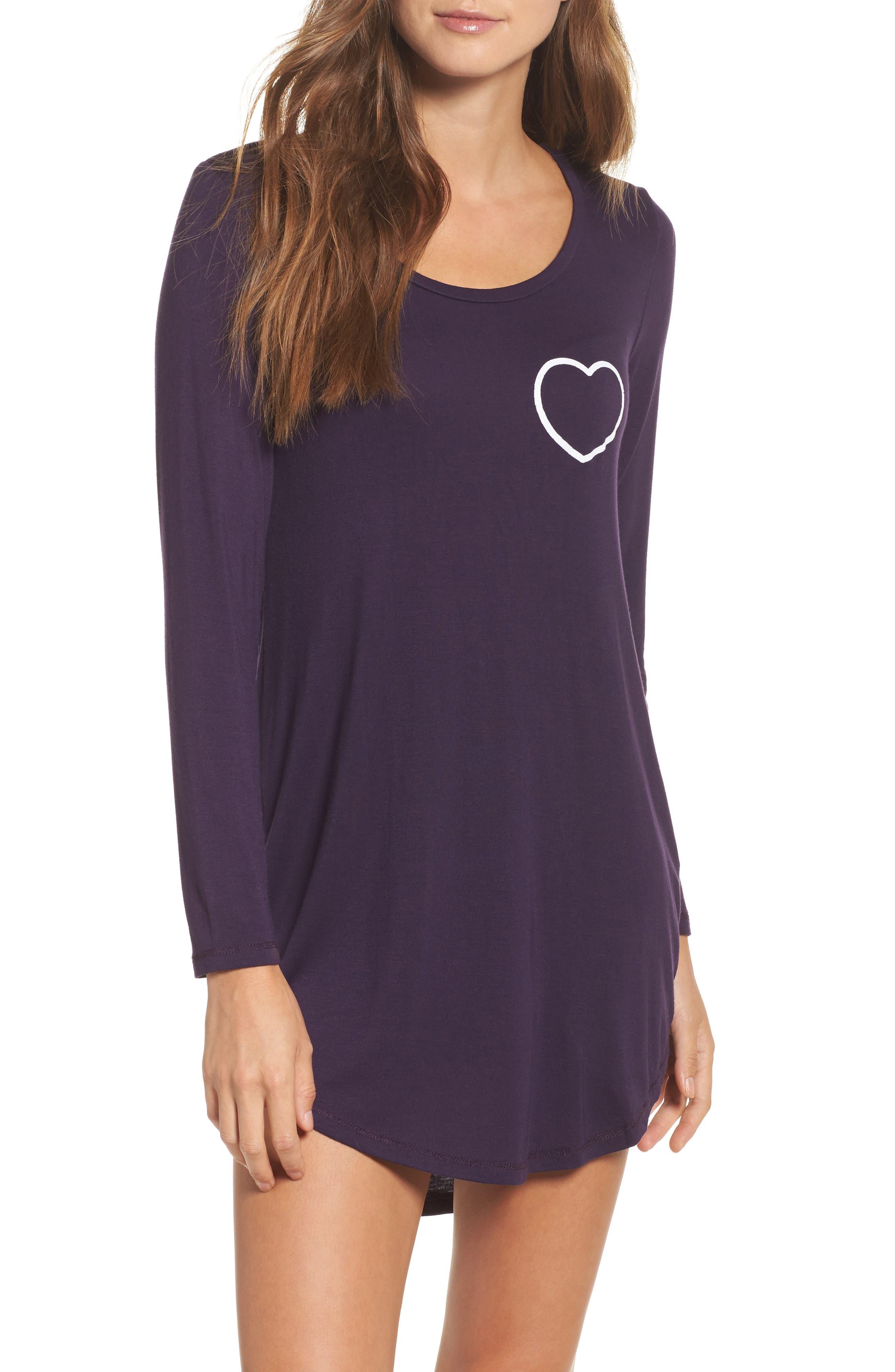 Heart Sleep Shirt,                             Main thumbnail 1, color,                             Anthra