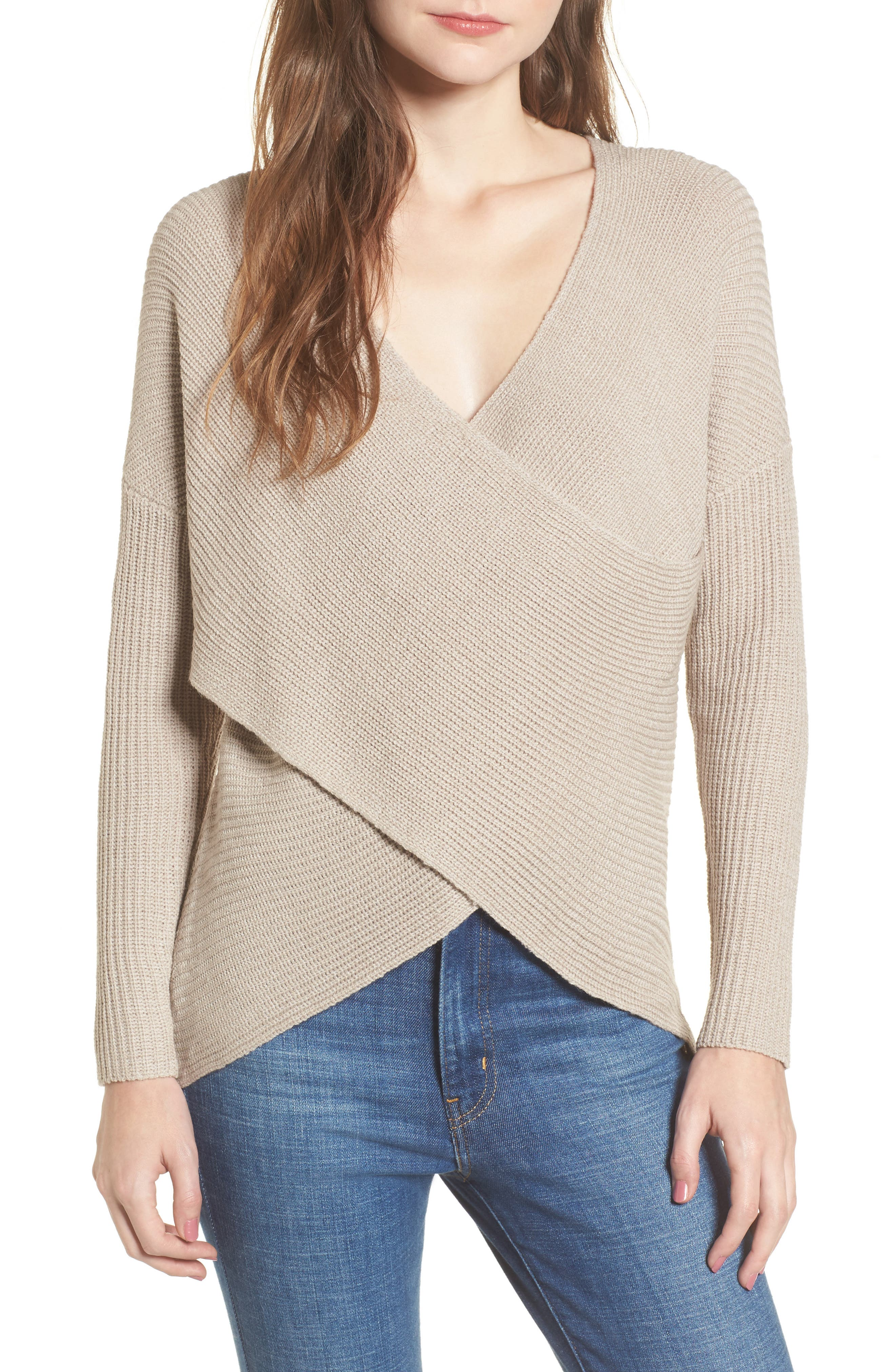 ASTR the Label Wrap Front Sweater