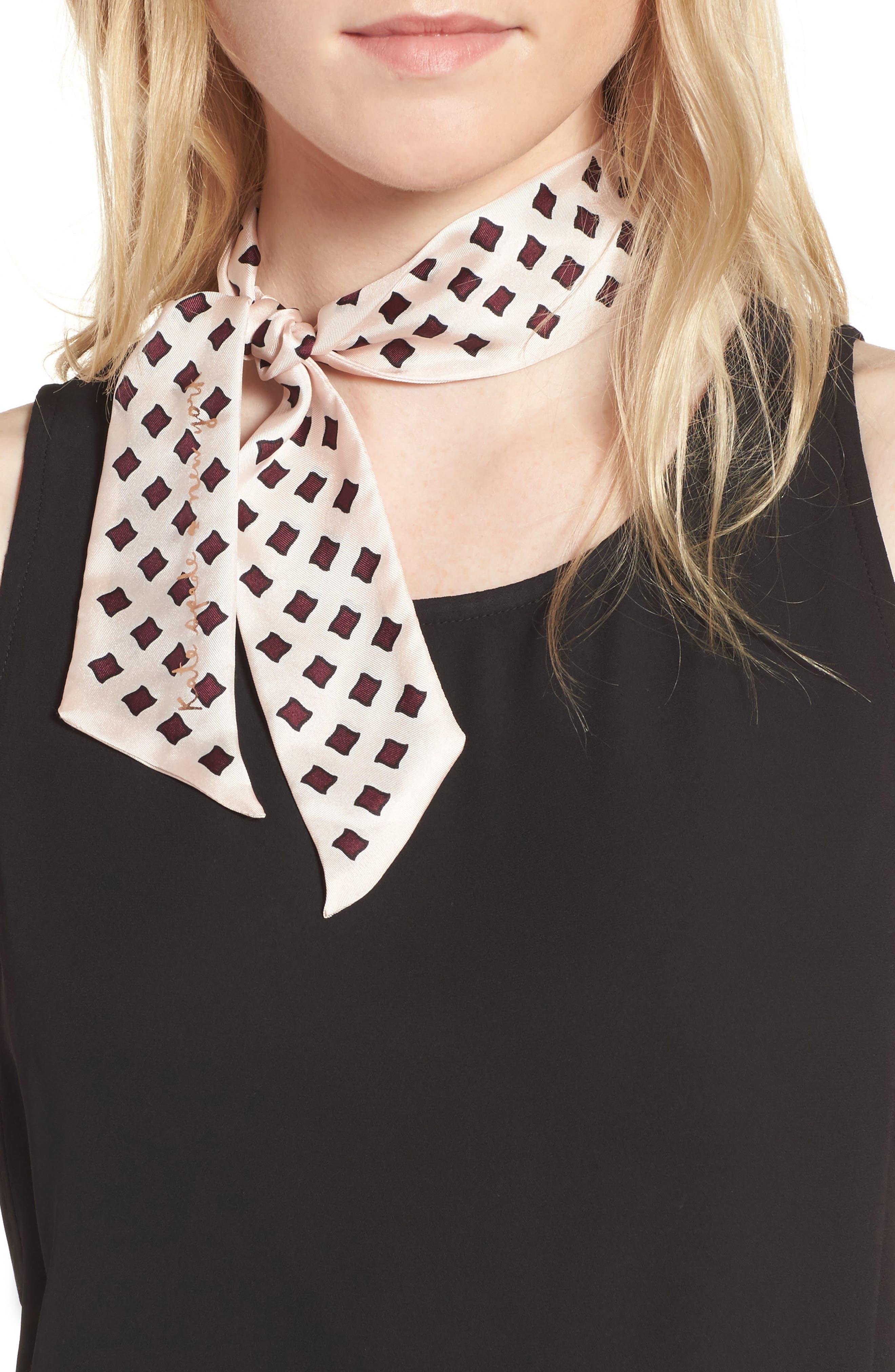 kate spade new york diamond print silk skinny scarf