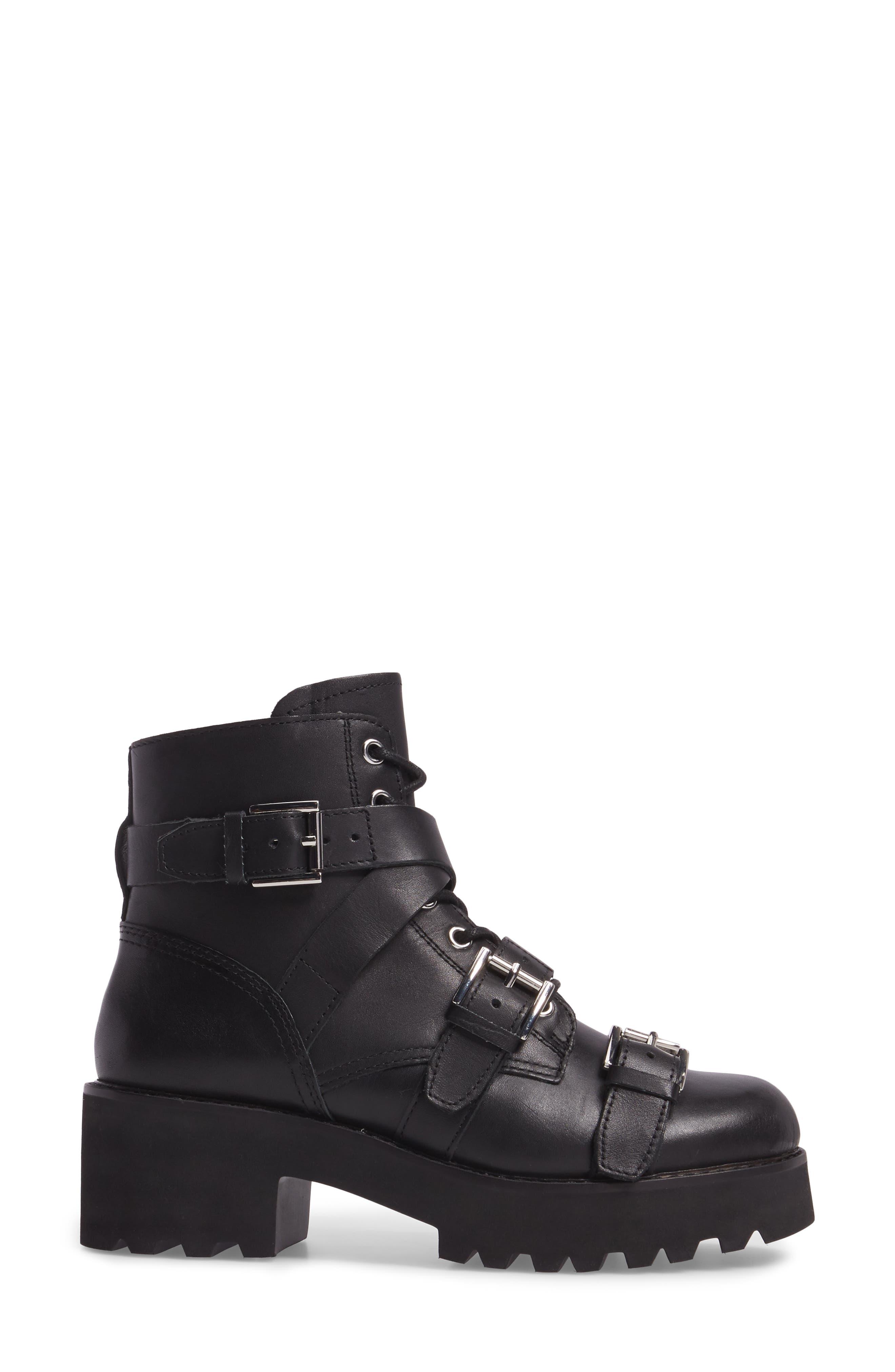 Razor Bootie,                             Alternate thumbnail 3, color,                             Black Leather