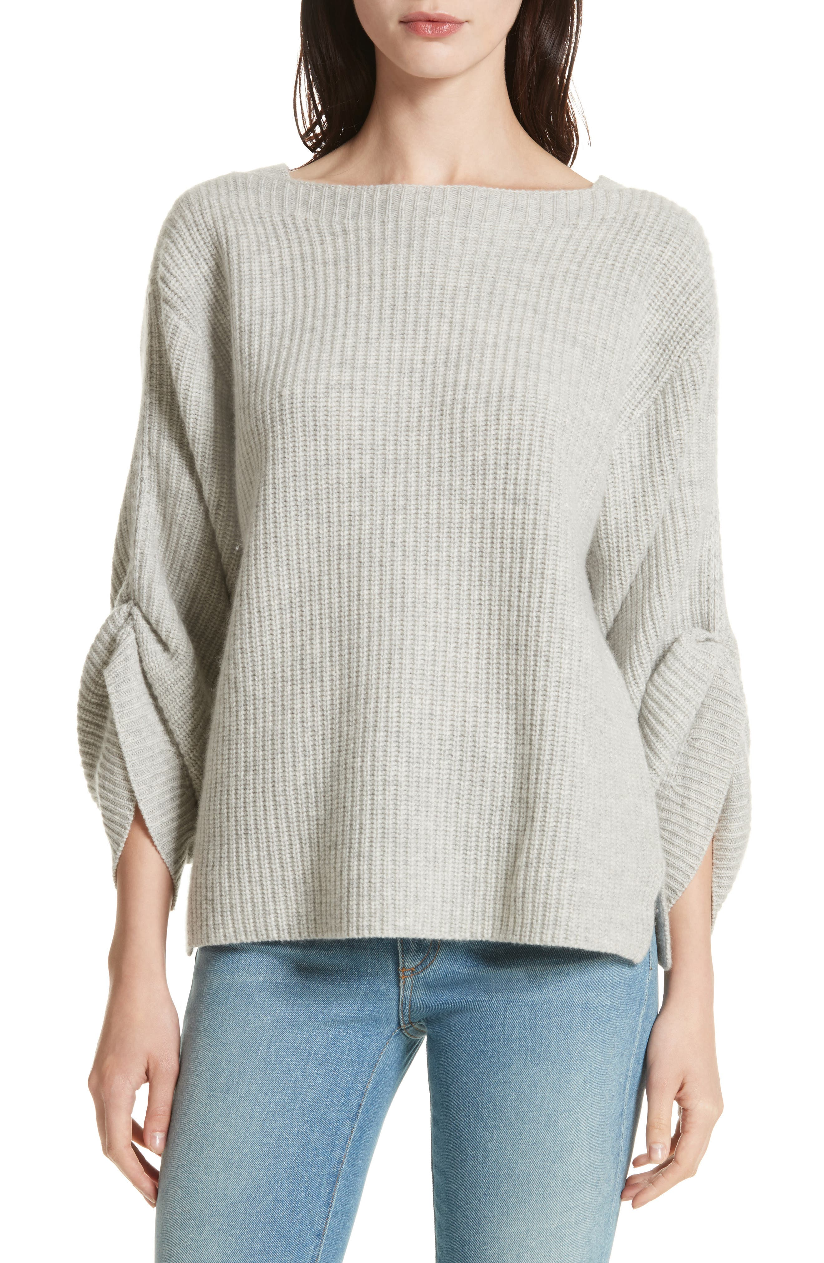 The Reva Boat Neck Wool & Cashmere Sweater,                             Main thumbnail 1, color,                             Gris Melange