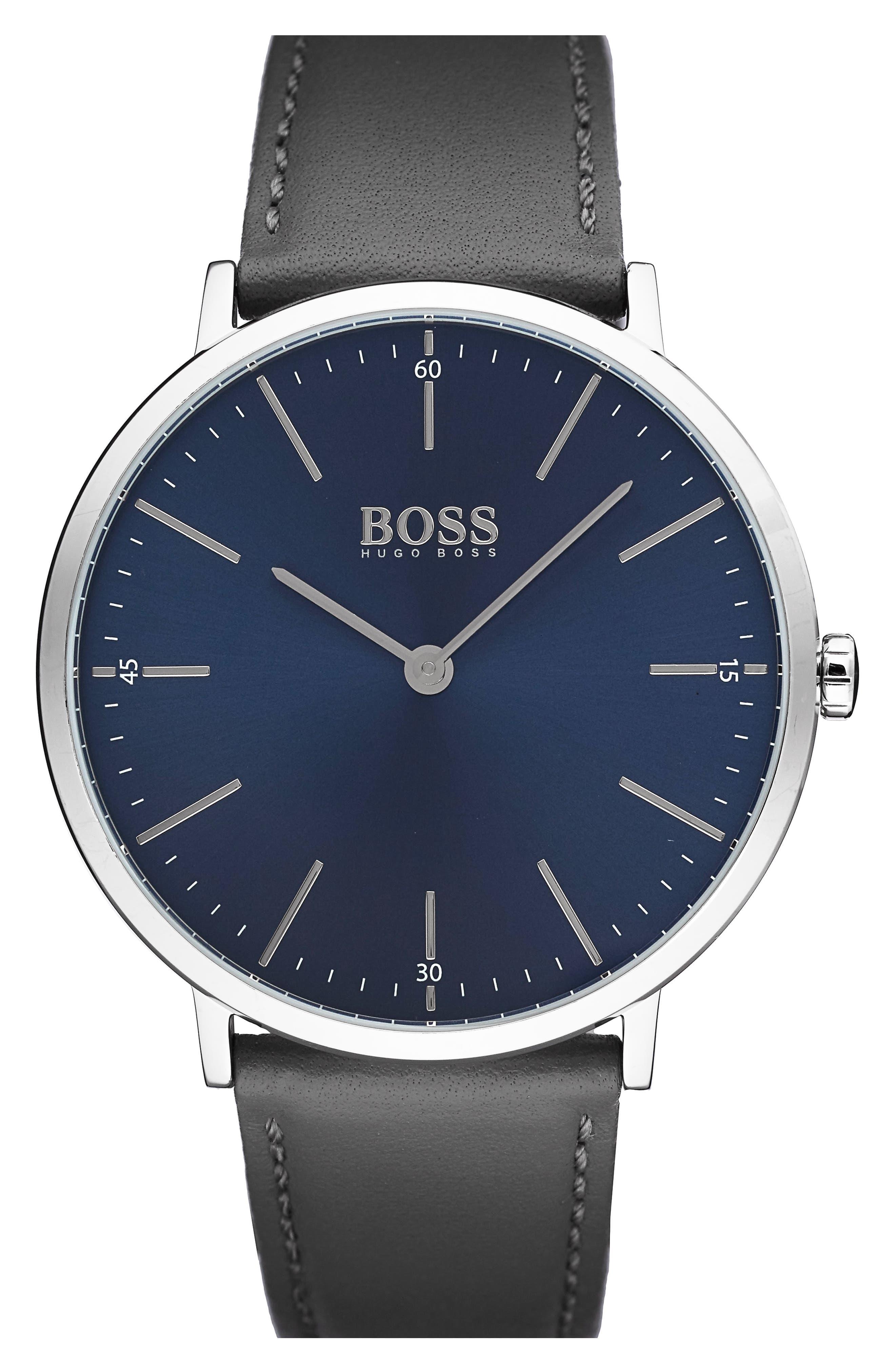 Horizon Leather Strap Watch, 40mm,                         Main,                         color, Navy/ Dark Grey