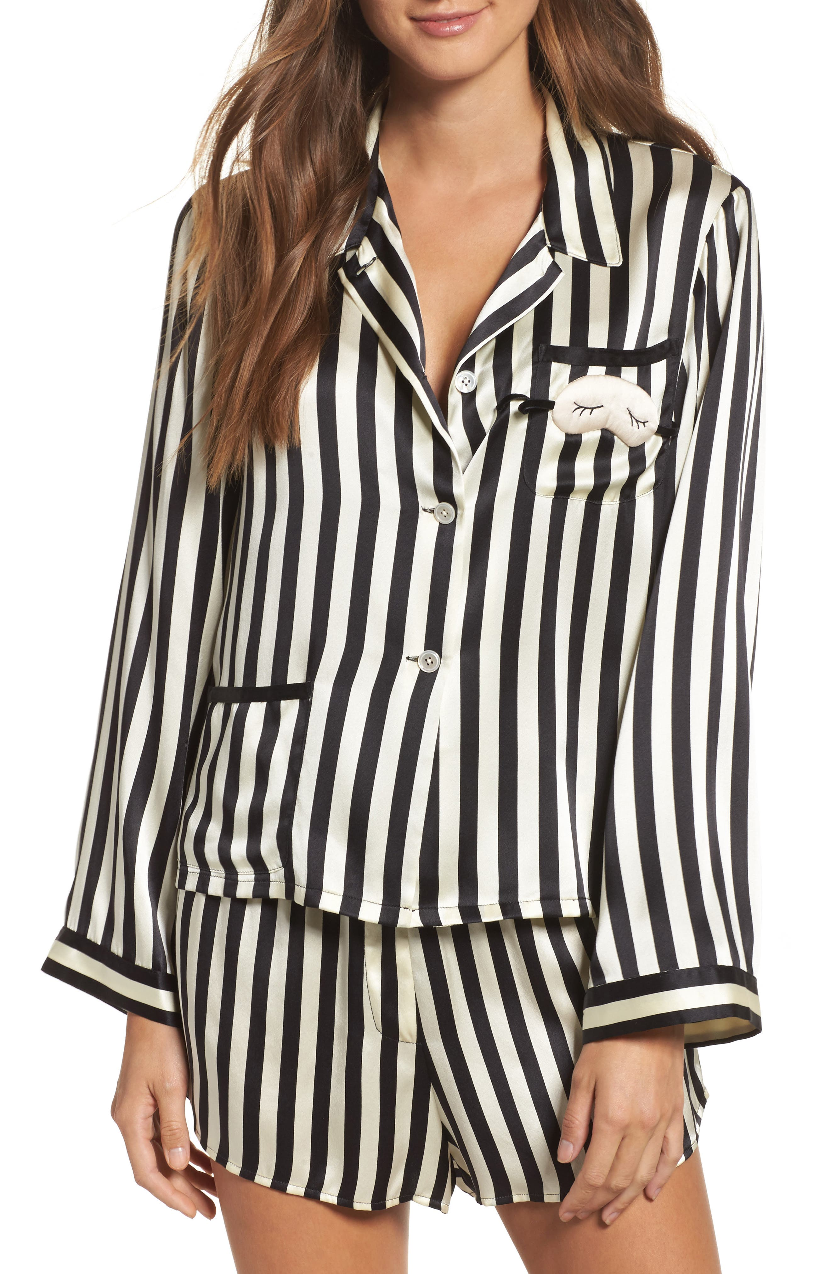 x Amanda Fatherazi Mini Mask Corey Stripe Silk Shorts,                             Alternate thumbnail 5, color,                             Noir/ Ecru