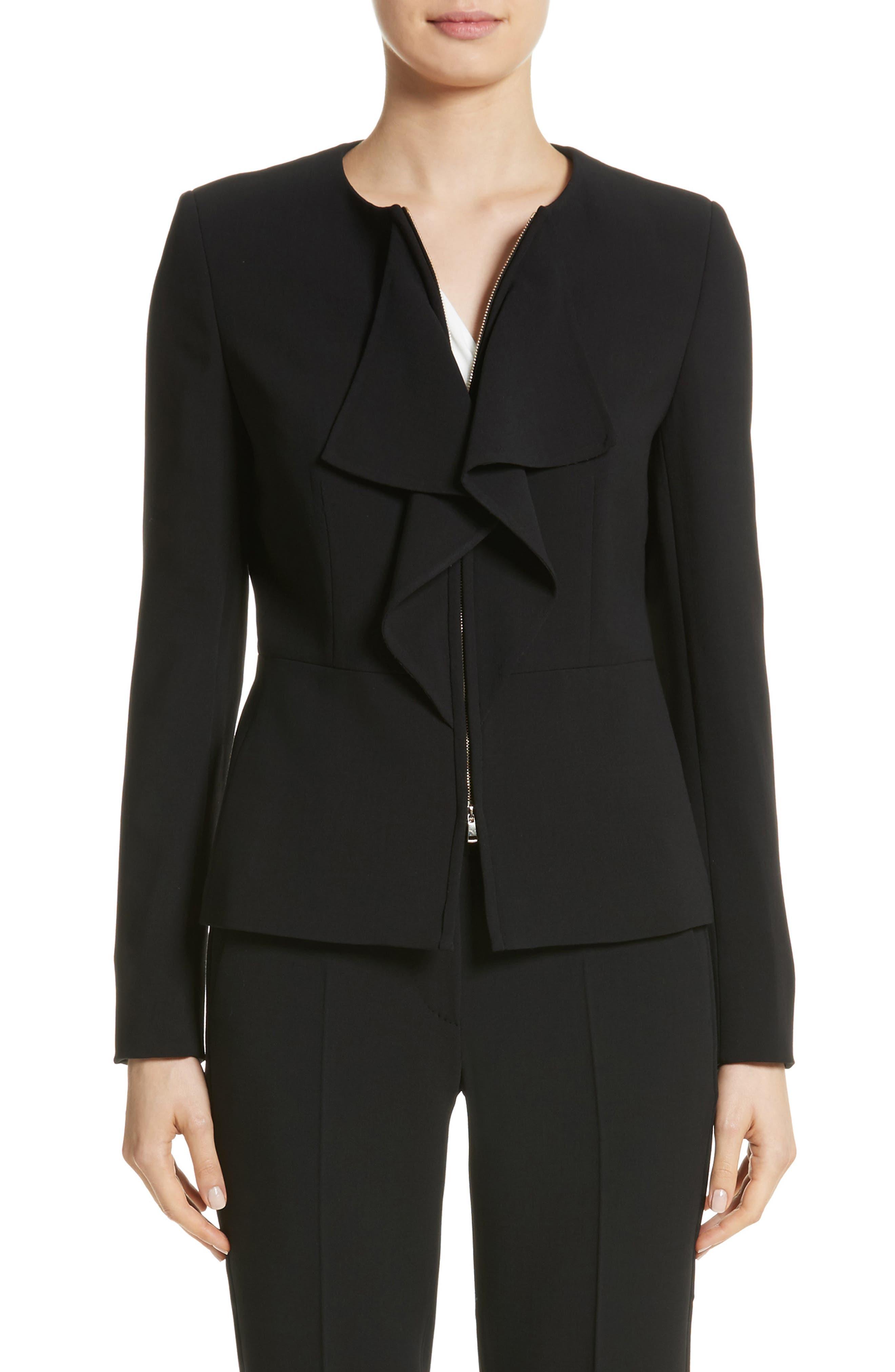 Giralda Stretch Wool Ruffle Jacket,                         Main,                         color, Black