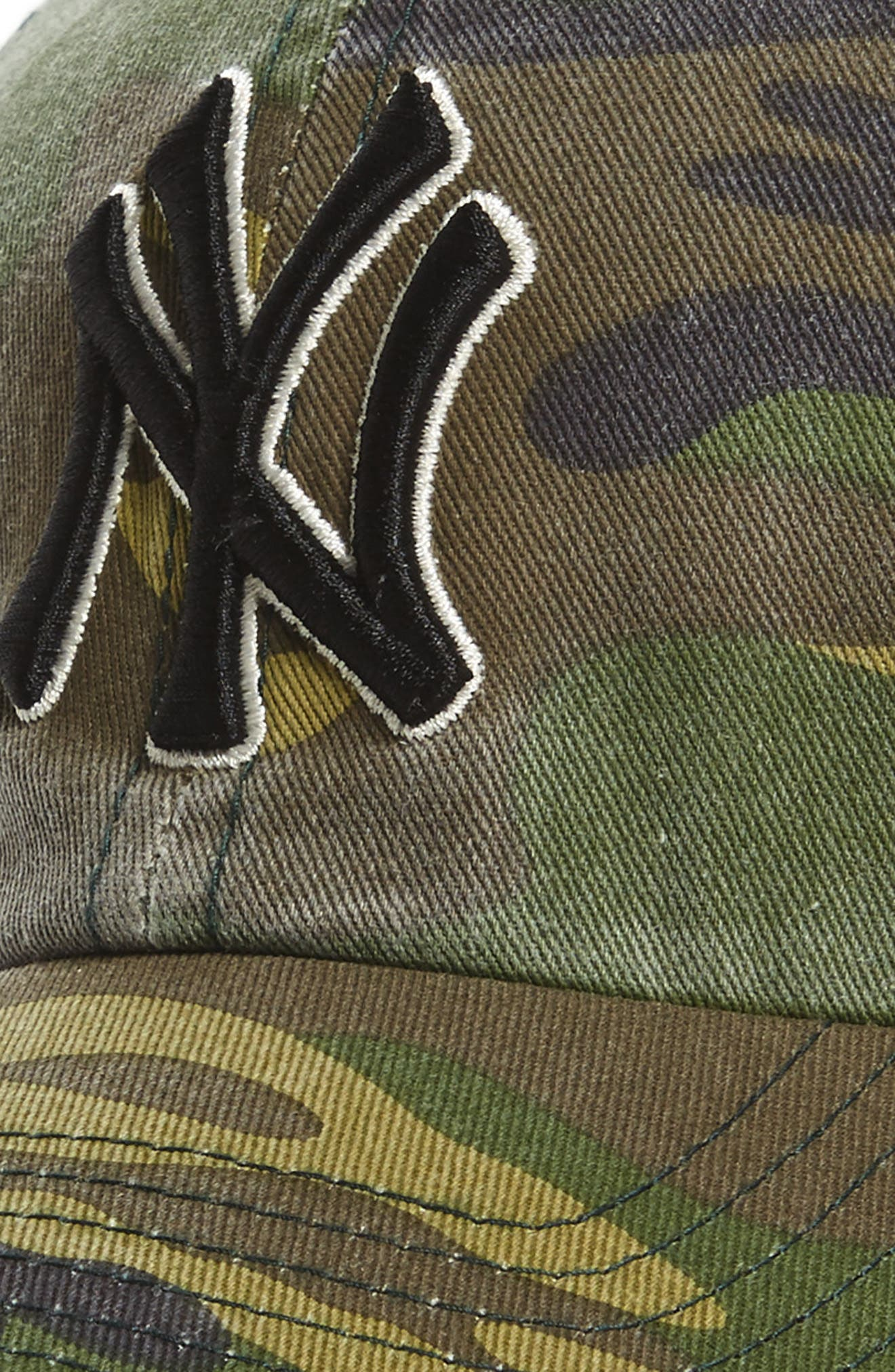 Clean Up NY Yankees Camo Baseball Cap,                             Alternate thumbnail 3, color,                             Green