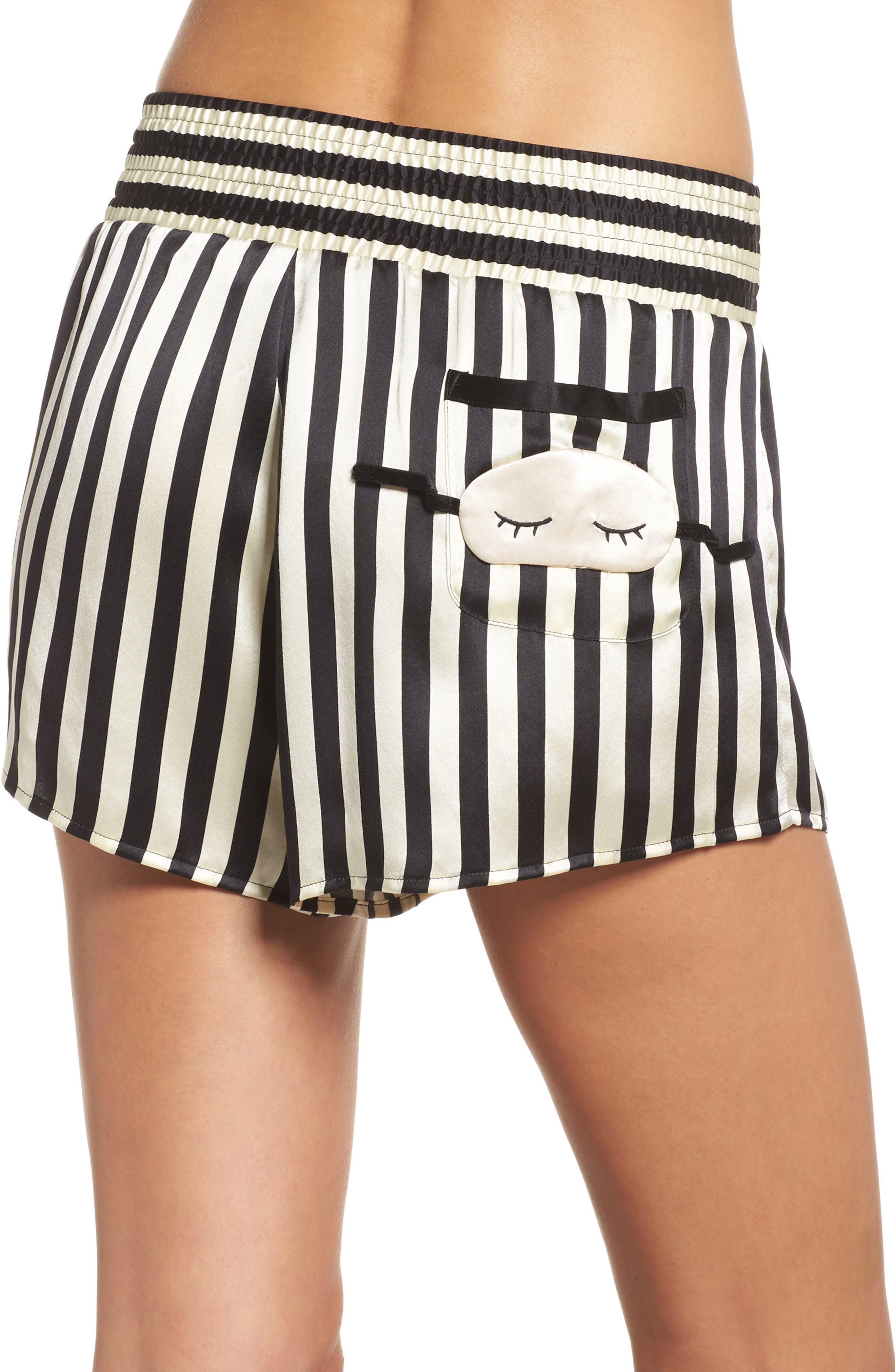 x Amanda Fatherazi Mini Mask Corey Stripe Silk Shorts,                             Alternate thumbnail 2, color,                             Noir/ Ecru