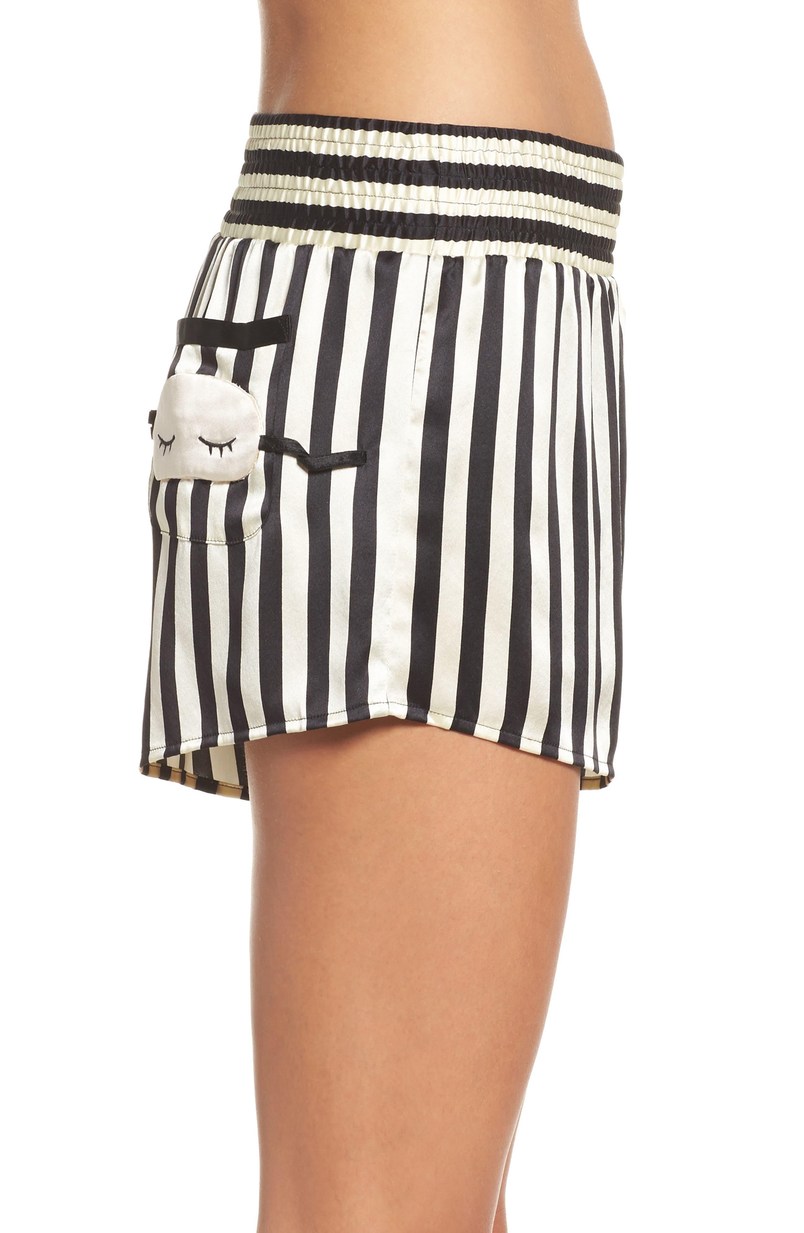 x Amanda Fatherazi Mini Mask Corey Stripe Silk Shorts,                             Alternate thumbnail 3, color,                             Noir/ Ecru