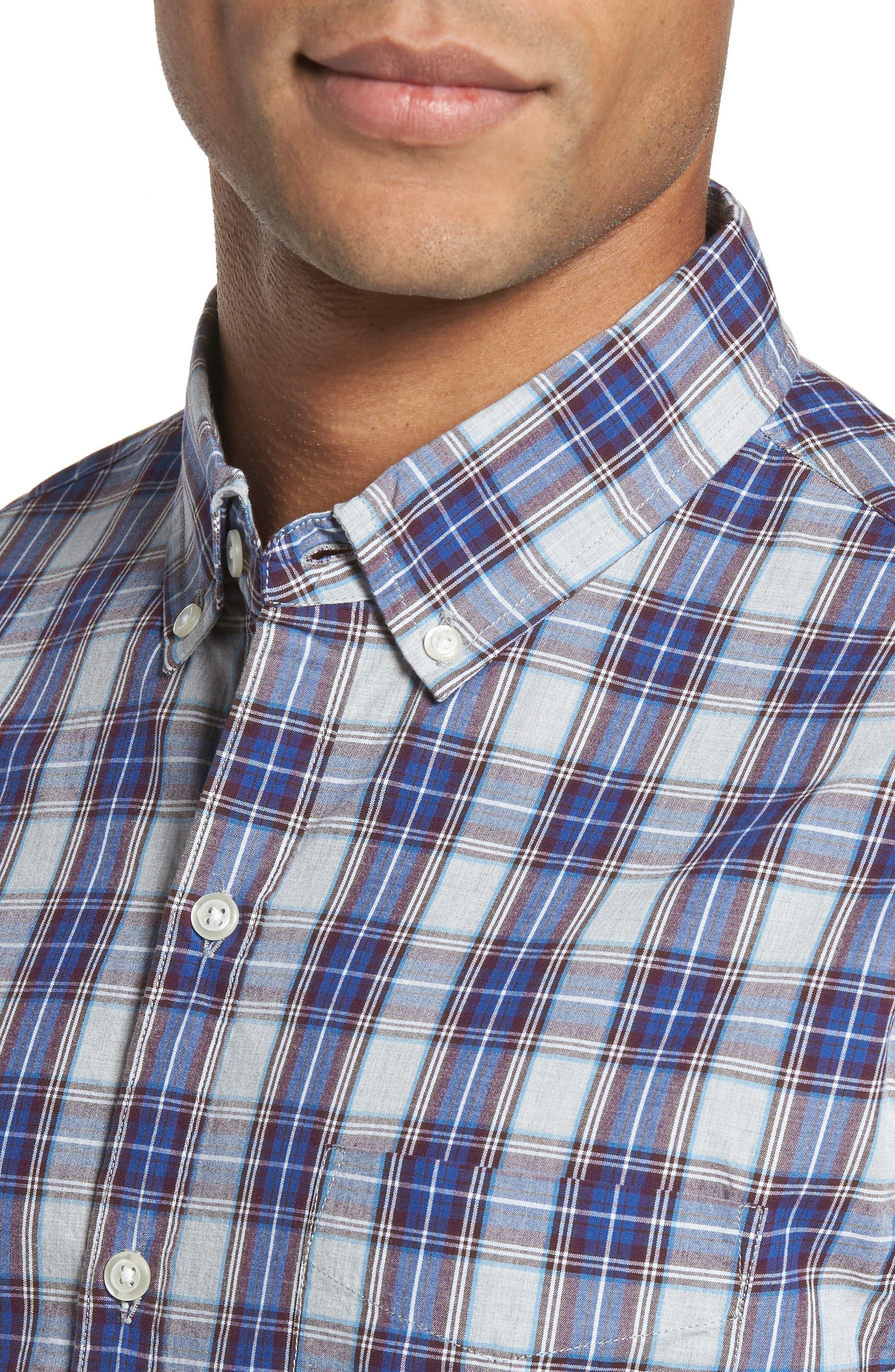 Slim Fit Washed Plaid Sport Shirt,                             Alternate thumbnail 4, color,                             Fallen Leaf Plaid