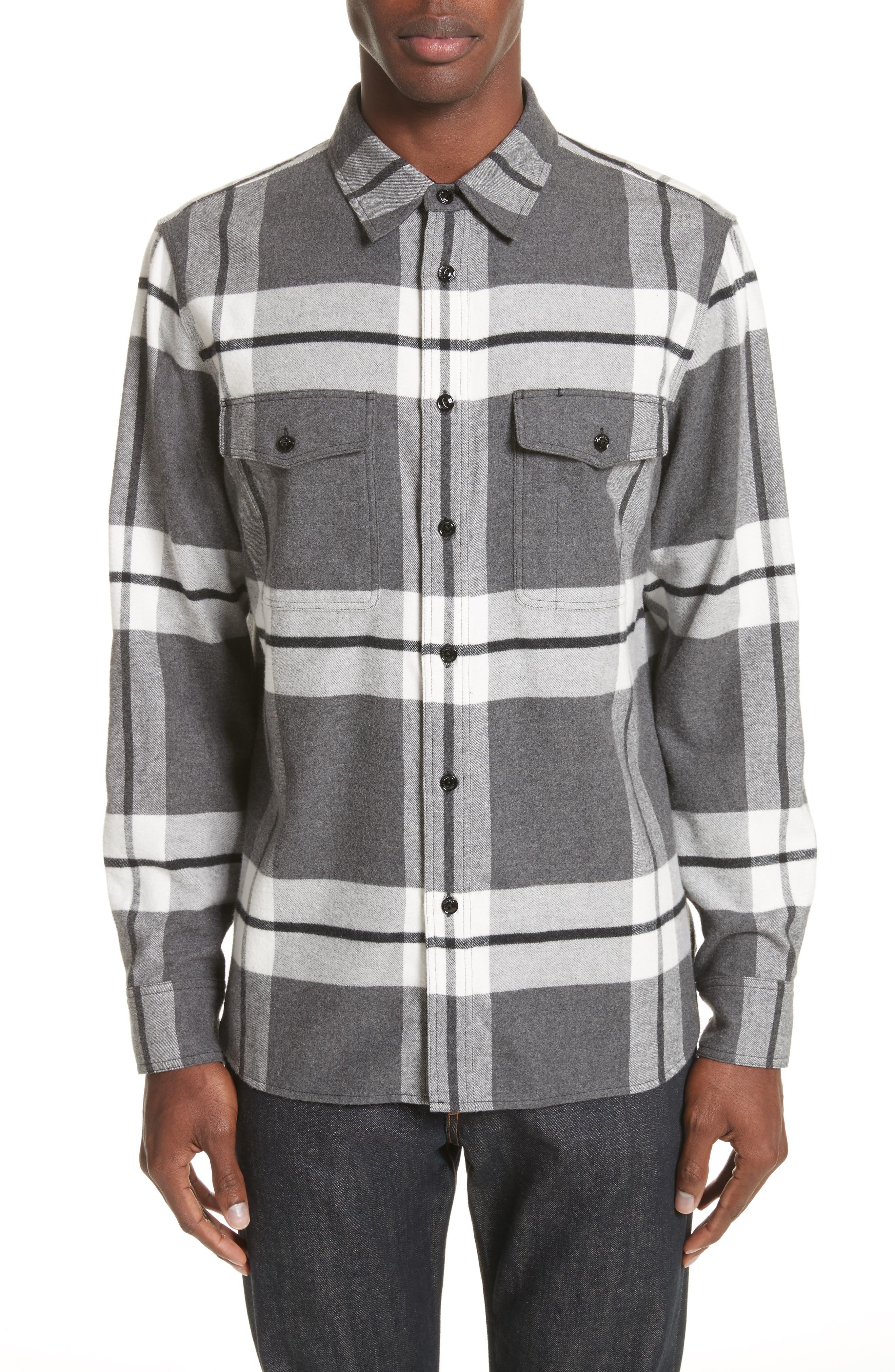 rag & bbone Jack Plaid Shirt Jacket,                         Main,                         color, Grey/Wht
