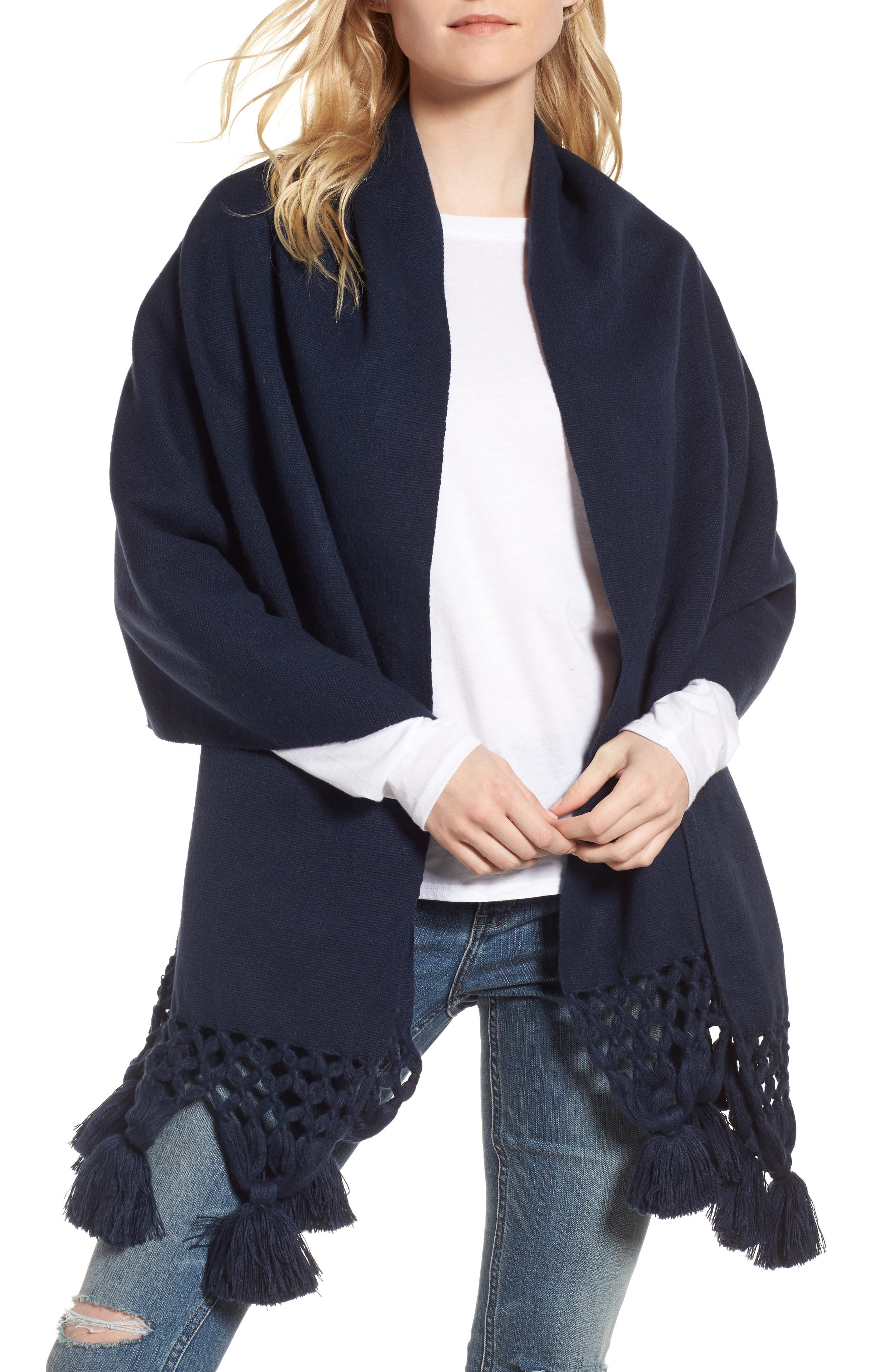 Crochet Trim Wrap Scarf,                         Main,                         color, Navy Blazer