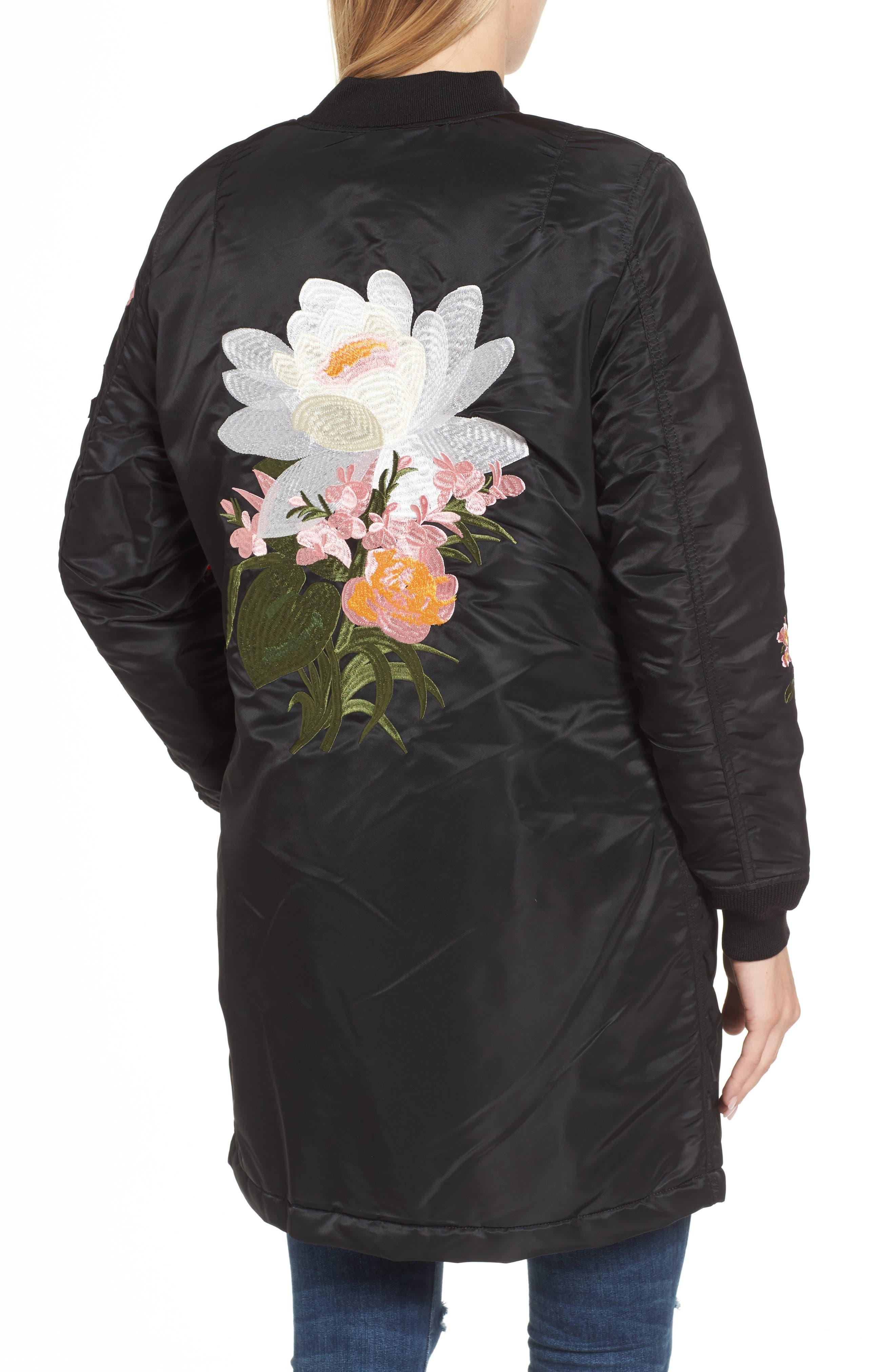 Long Souvenir Illusion MA-1 Jacket,                             Alternate thumbnail 2, color,                             Black