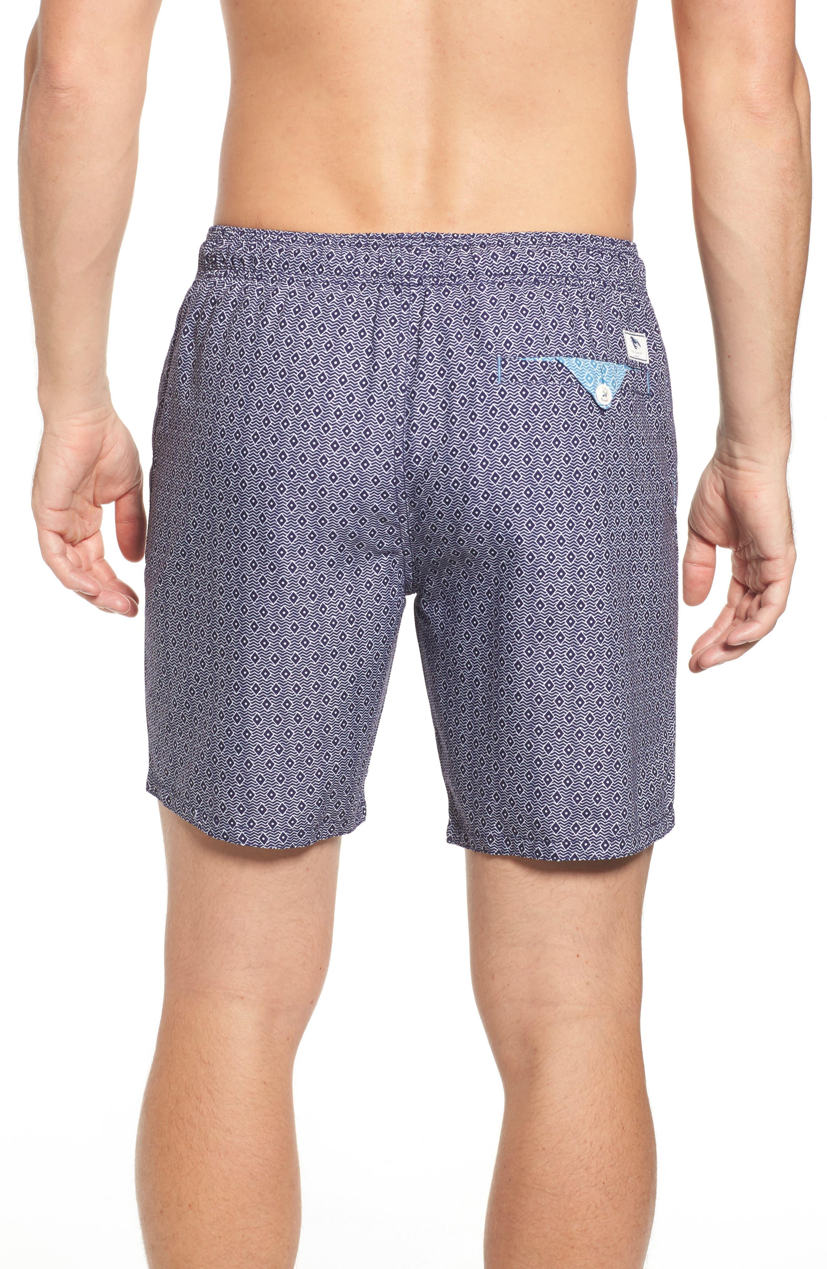 Seada Diamond Print Swim Shorts,                             Alternate thumbnail 2, color,                             Navy