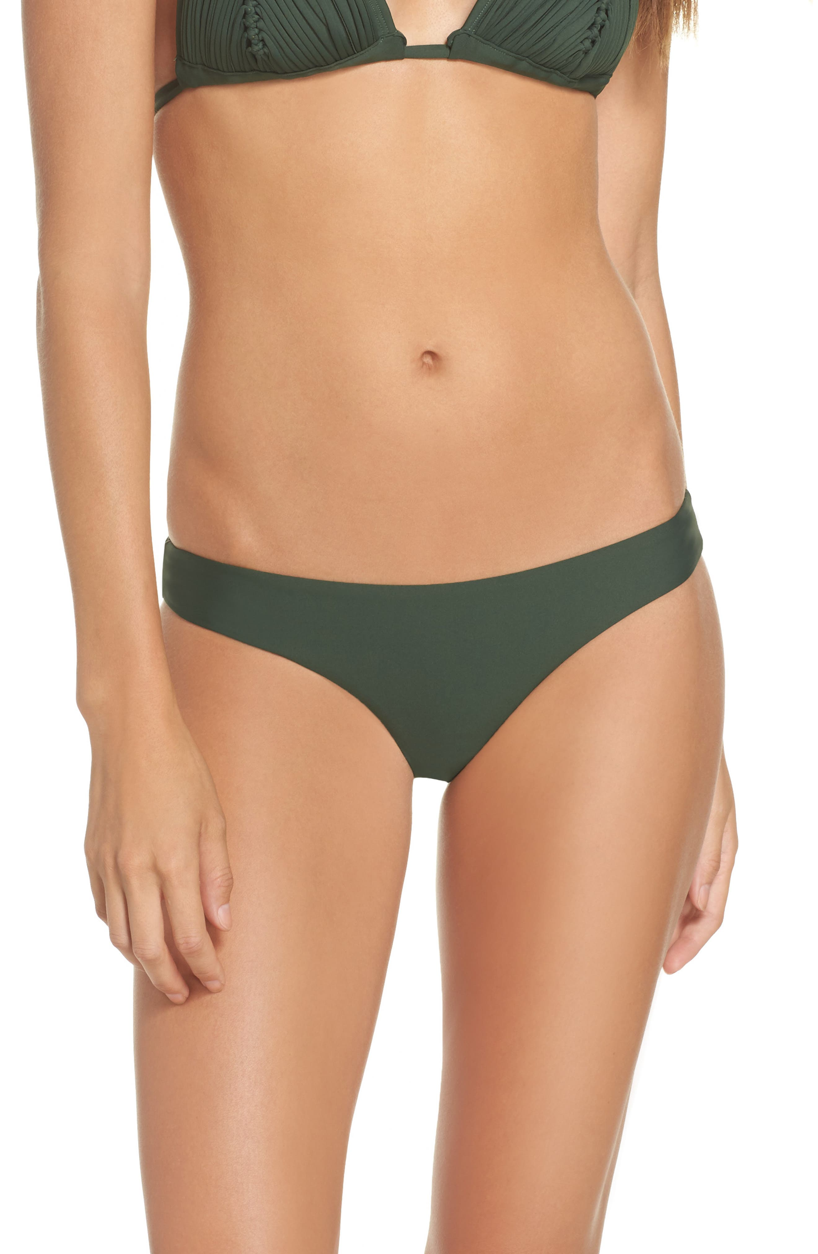 Ruched Bikini Bottoms,                             Alternate thumbnail 2, color,                             Army